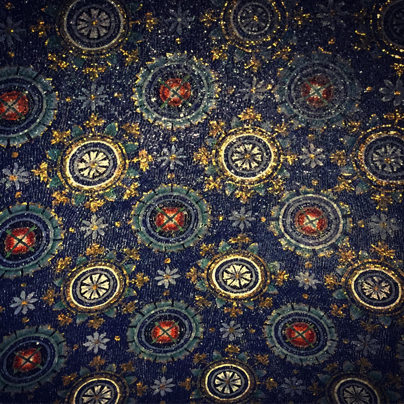 Mosaicked ceiling in the Mausoleum of Galla Placidia (Ravenna)