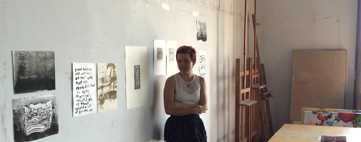 Pratt in Venice 2015 undergraduate Fine Arts student Brianne McKain presents her prints in the end-of-program critique.