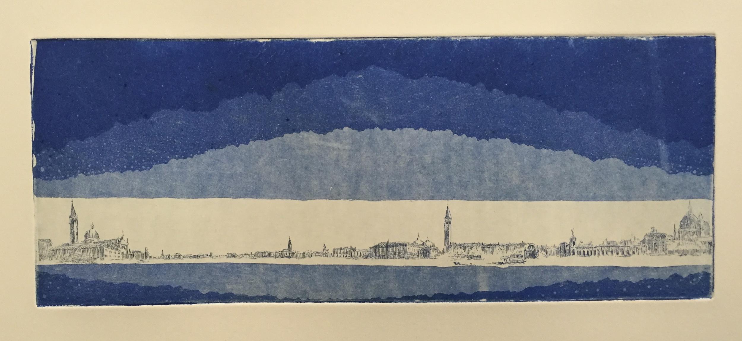 YIYI WANG   Venice in Blue   etching, monoprint