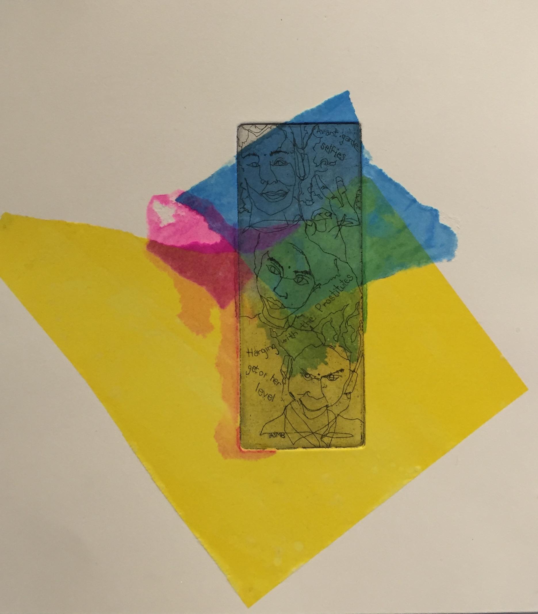 YAMATA BERNARD About Her etching, chine-collé