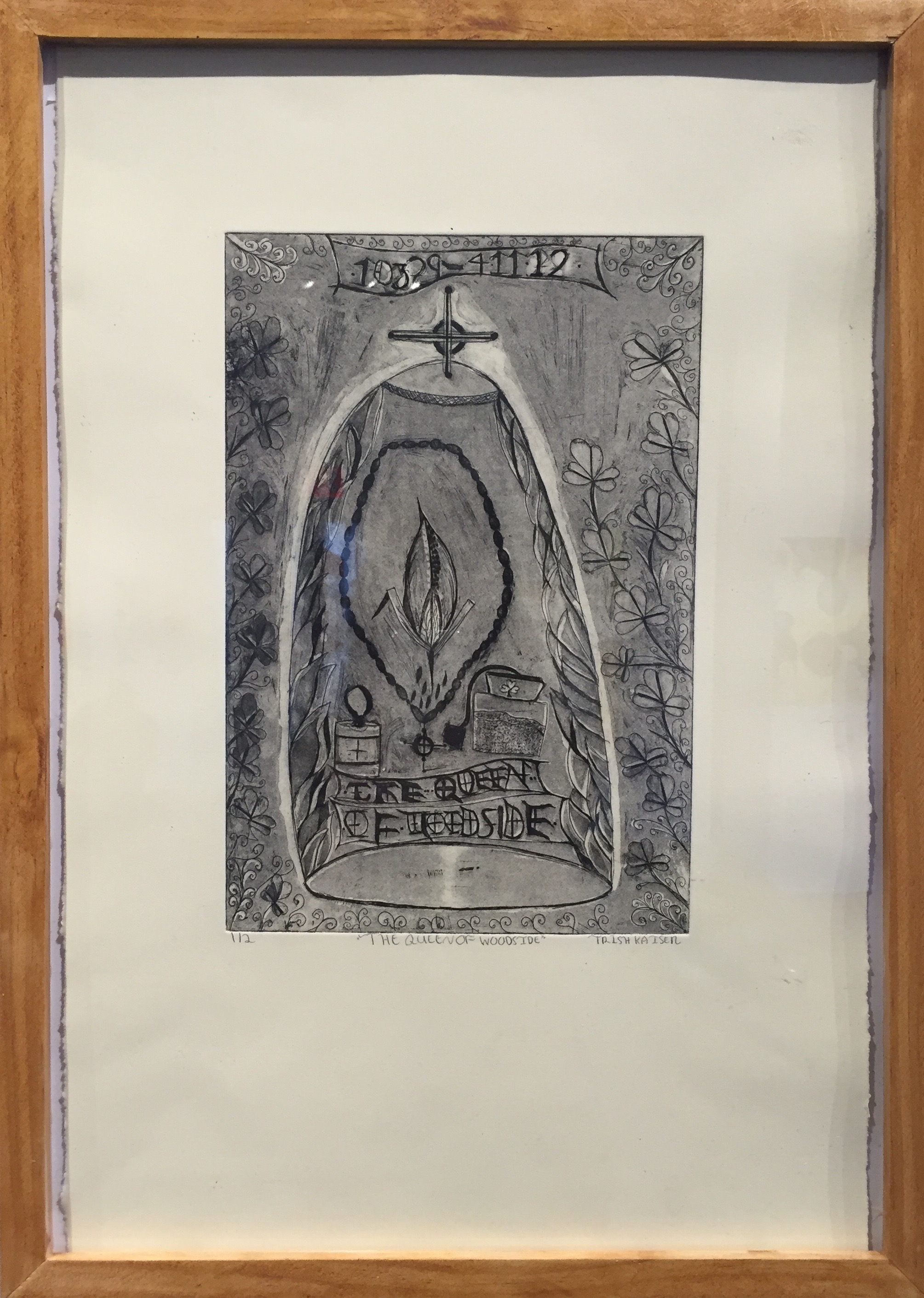 TRISH KAISER   The Queen of Woodside   etching, aquatint