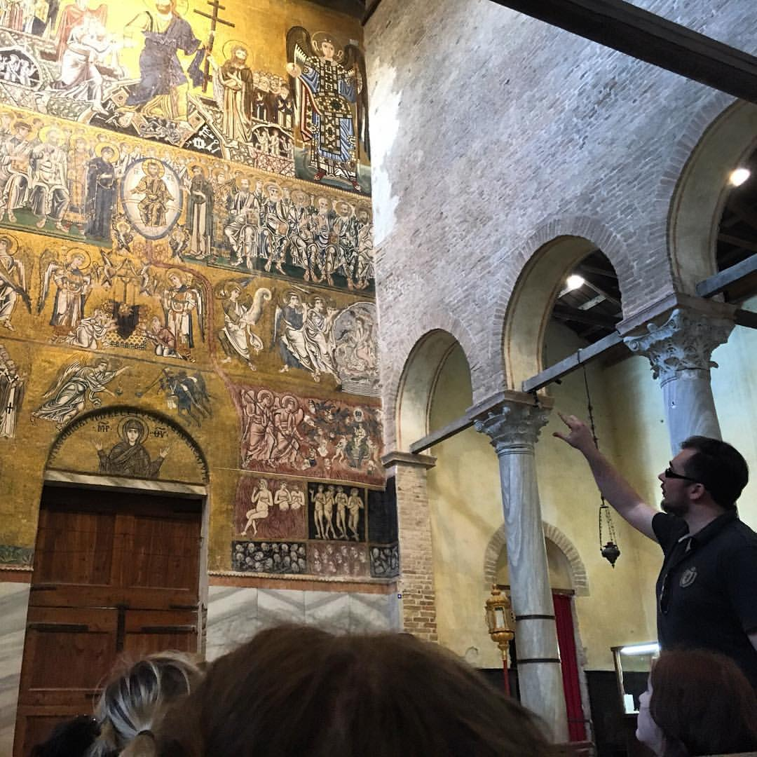 Art History Professor Joseph Kopta leads a discussion on the Byzantine mosaics at Torcello.