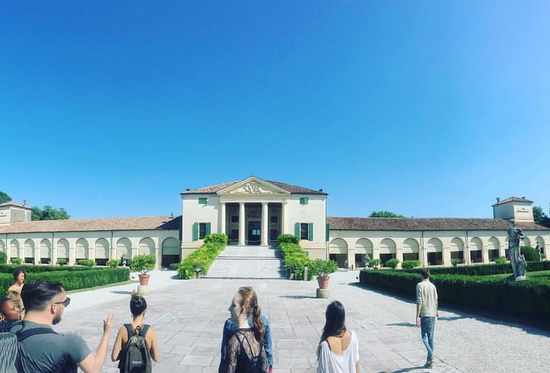 Professor Joseph Kopta points out aspects of Palladian architecture at the Villa Emo.