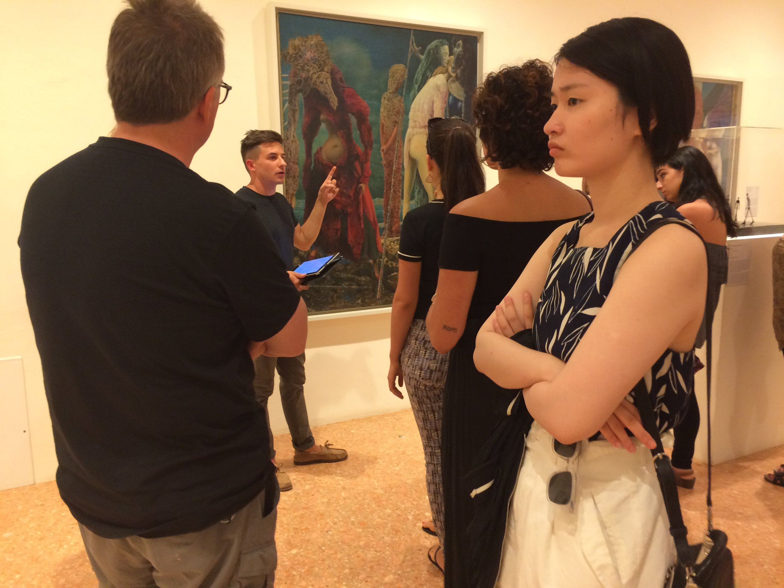 Program Assistant Andrew Kurczak leads Pratt students on a special tour of the Peggy Guggenheim Collection.