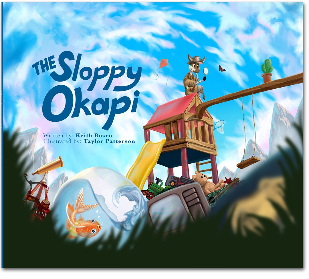 The Sloppy Okapi  by Keith Bosco, with illustrations by Pratt in Venice alumnus Taylor Patterson. Courtesy Yellow Light Publishing