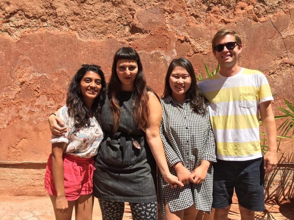 Prof. Grayson Cox and Scuola Grafica printmaking assistant Roberta Feoli with students Priya Parthasarathy and Sora Woo