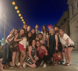 Pratt in Venice students with Diana Gisolfi at the last supper in Venice in July, 2017.