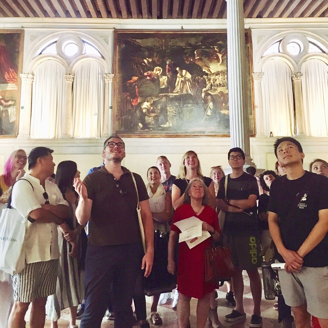 Professor Diana and Gisolfi and Joseph Kopta hold class at the Scuola San Rocco