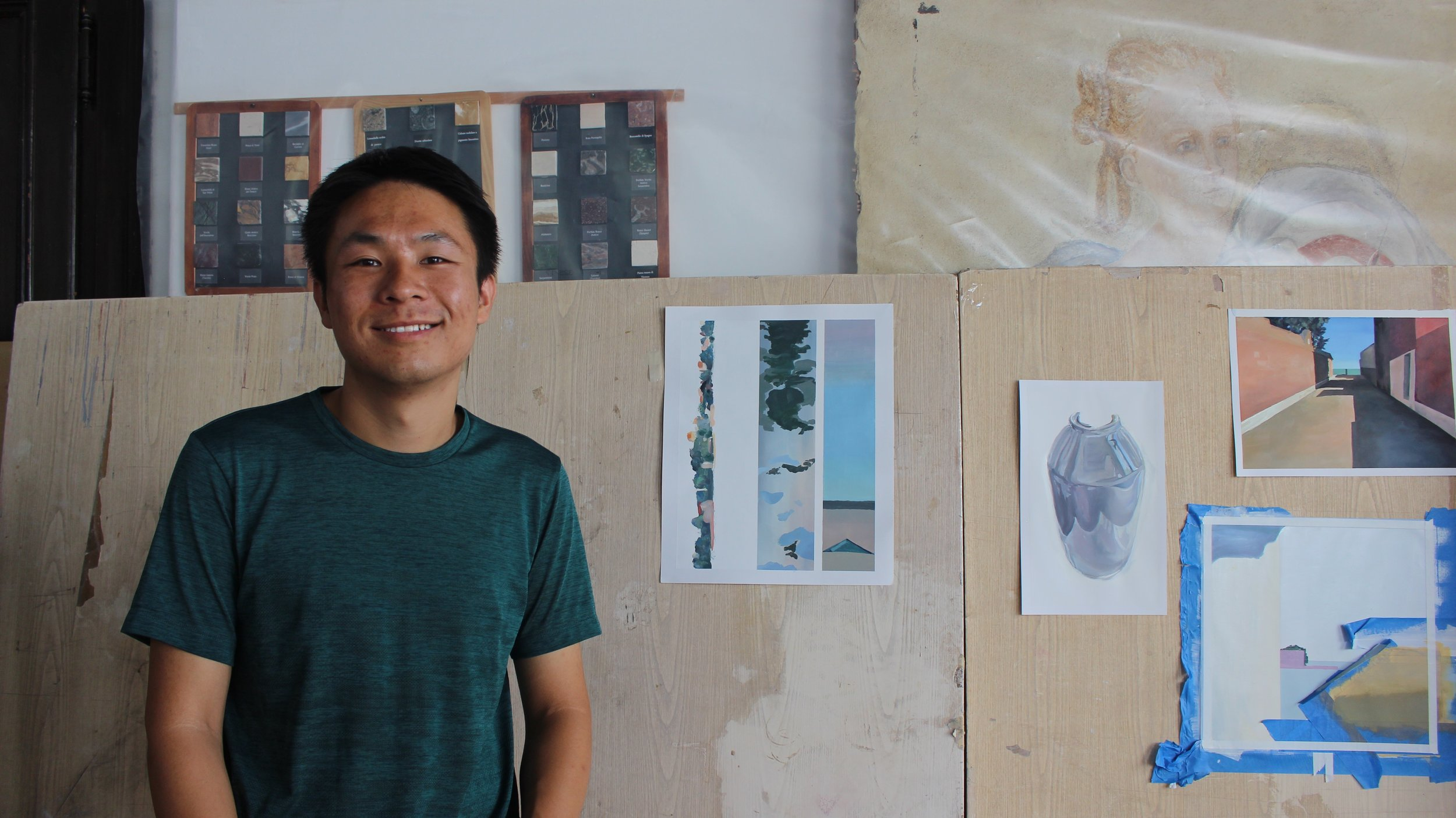 Xingze Li pictured here at his final critique at UIA.