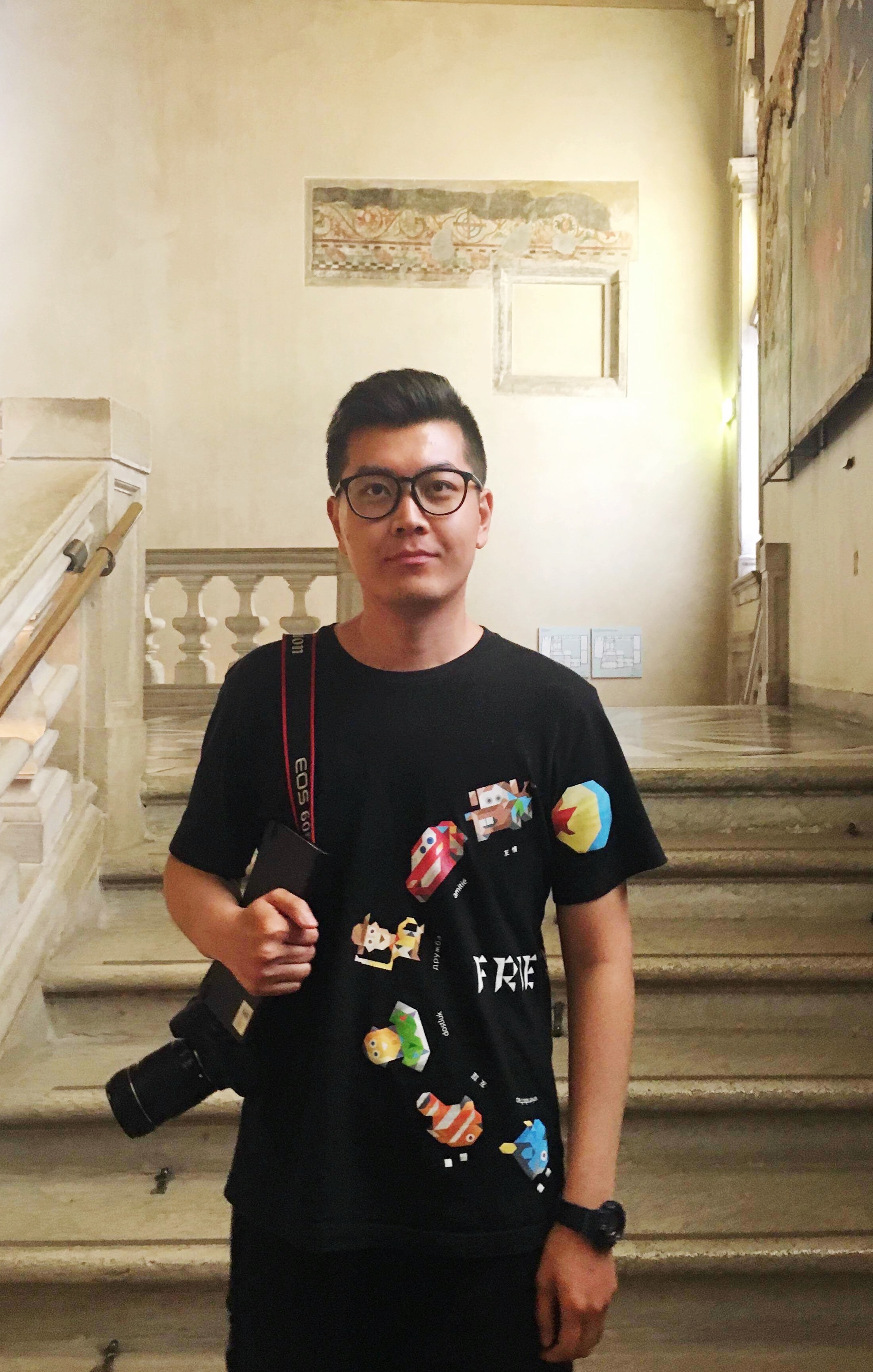 Penghui is pictured here visiting the Accademia.