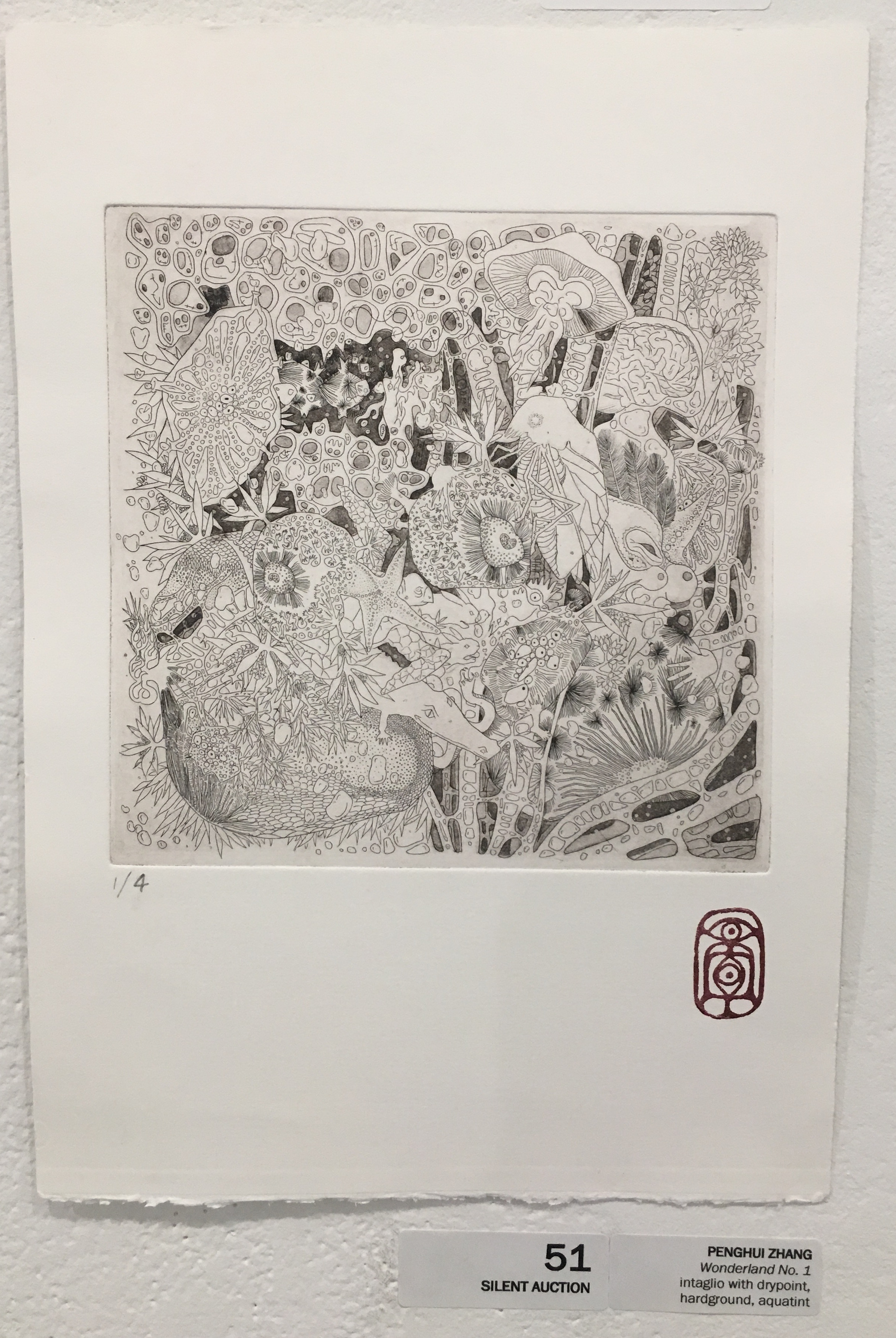 "Penghui Zhang, ""Wonderland No. 1"" (hardground etching)"