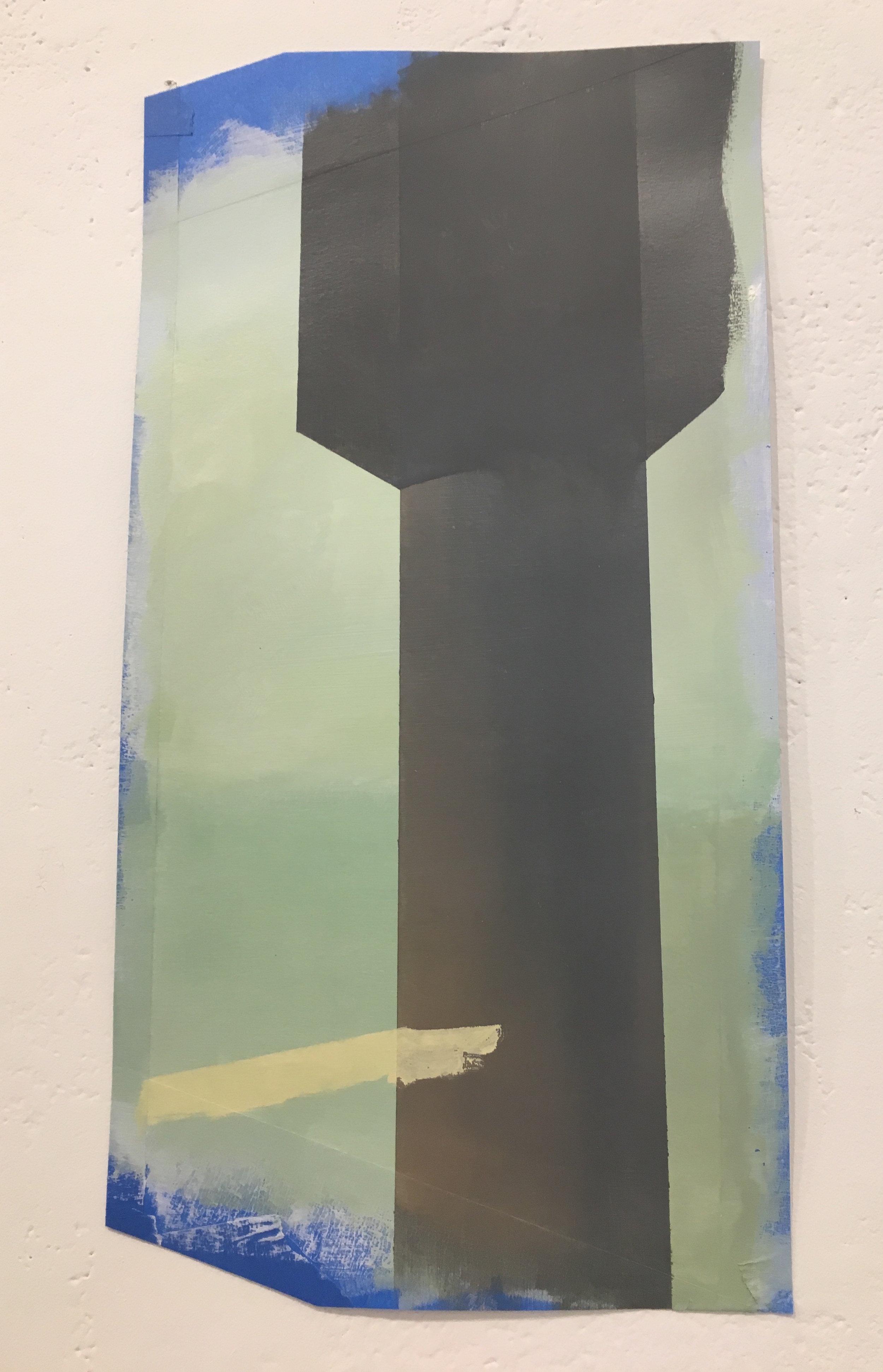 """Xingze Li, """"Column"""" (oil on paper)"""