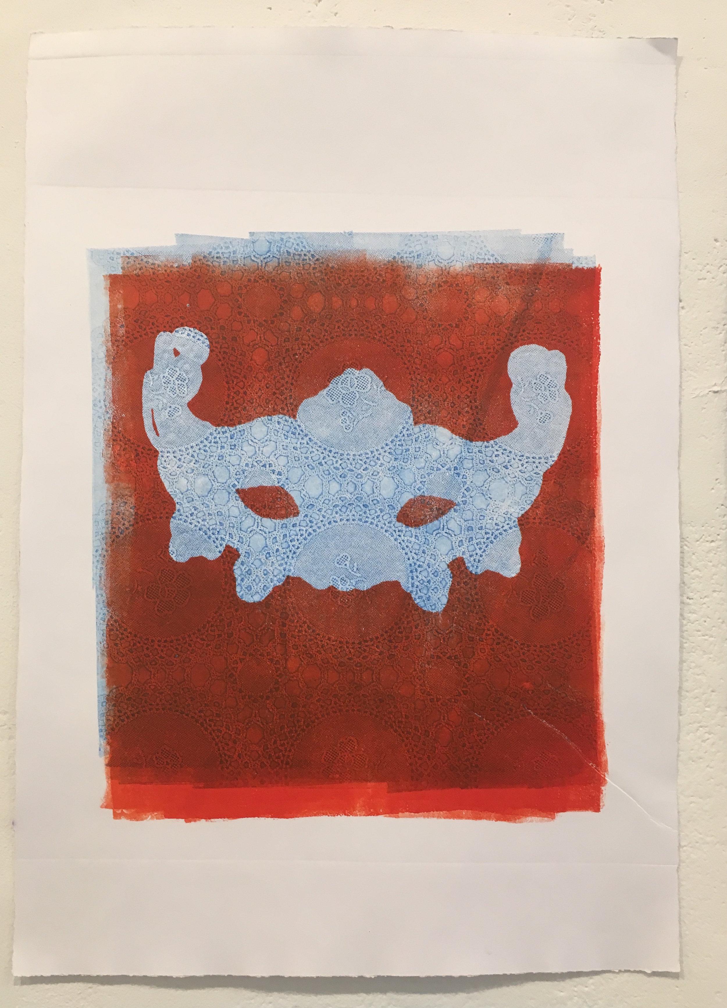 "Aubrey Roemer, ""Venetian Mask I"" (collograph print)"