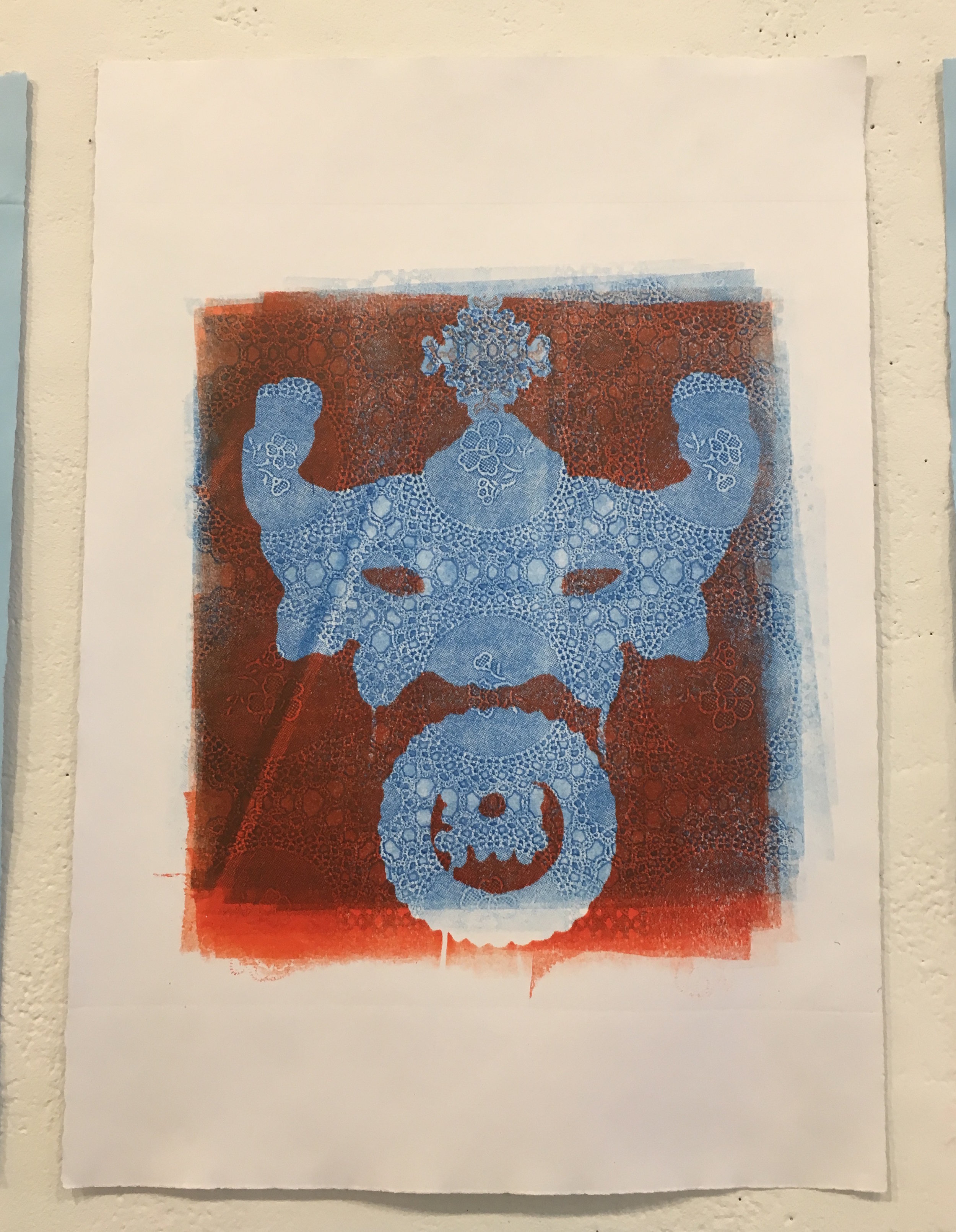 "Aubrey Roemer, ""Venetian Mask III"" (collograph print)"
