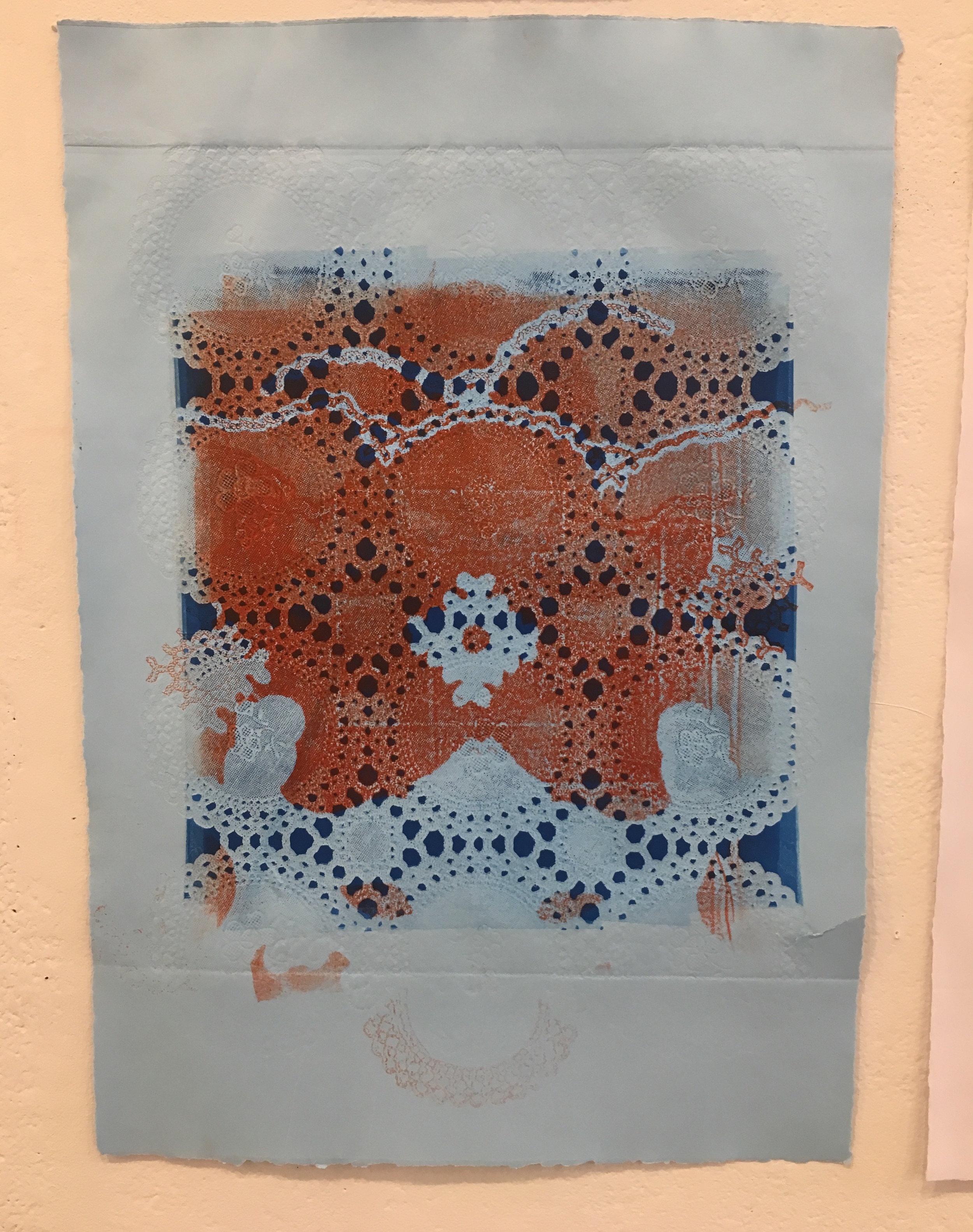 "Aubrey Roemer, ""Venetian Mask V"" (collograph print)"