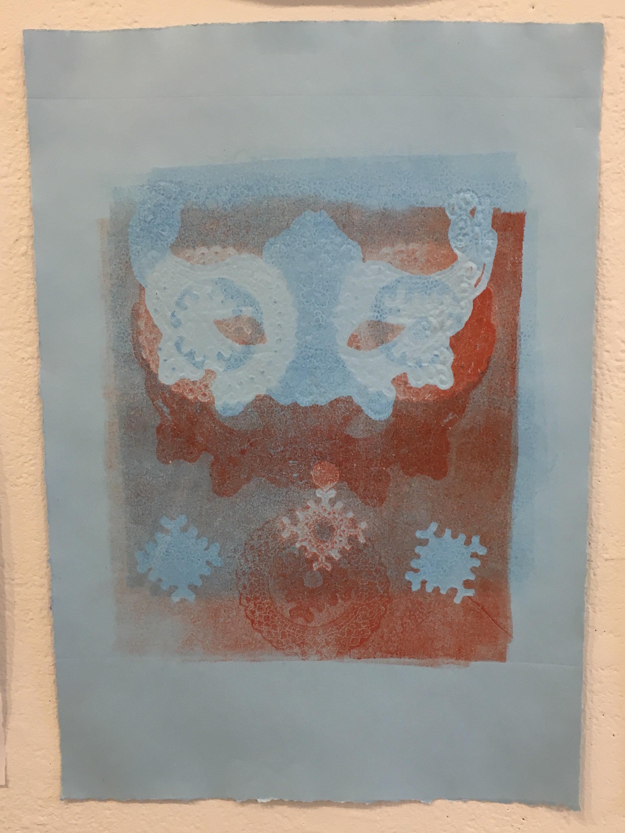 "Aubrey Roemer, ""Ventian Mask VII"" (collograph print)"