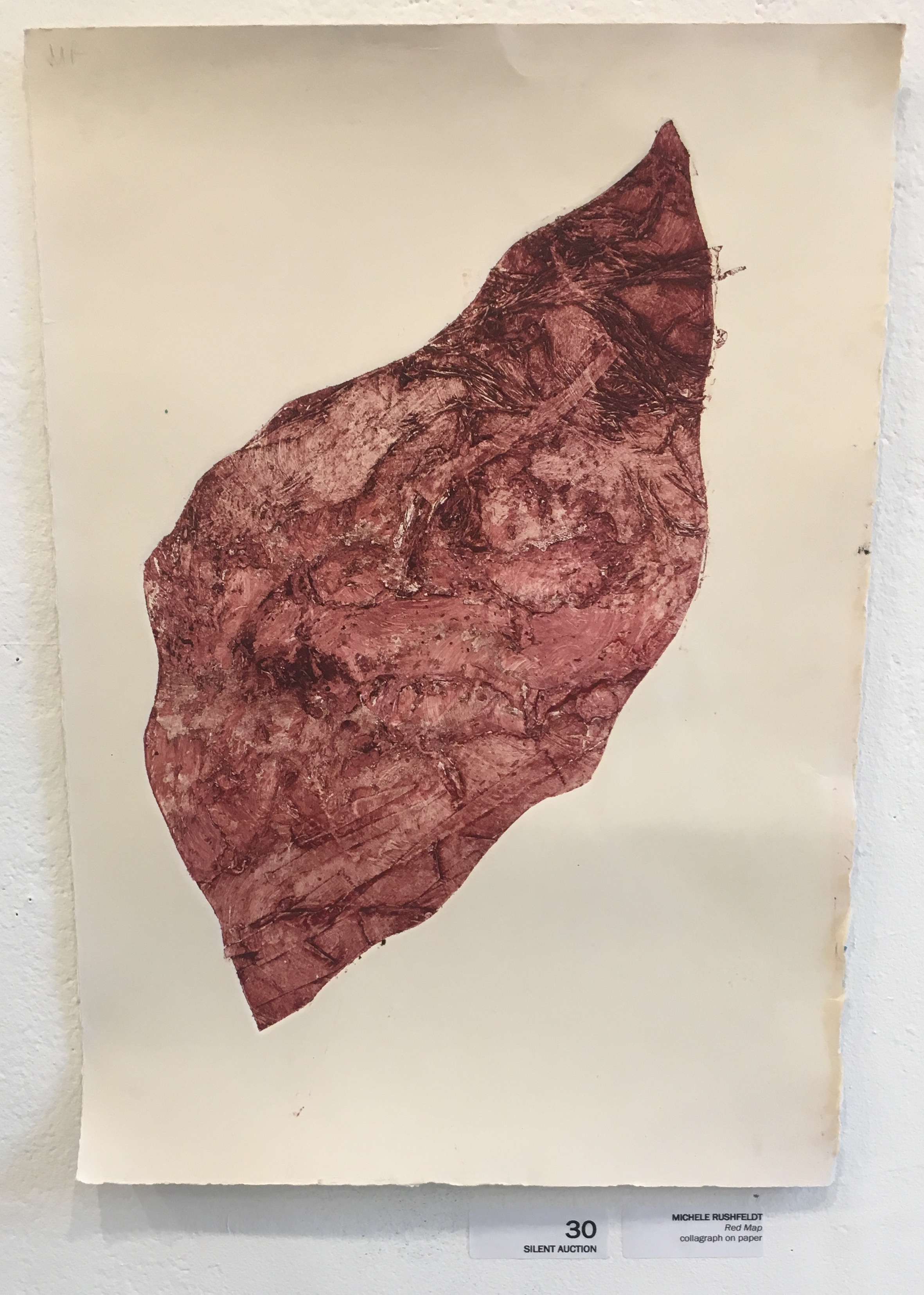 """Michele Rushfeldt, """"Red Map"""" (collagraph on paper)"""