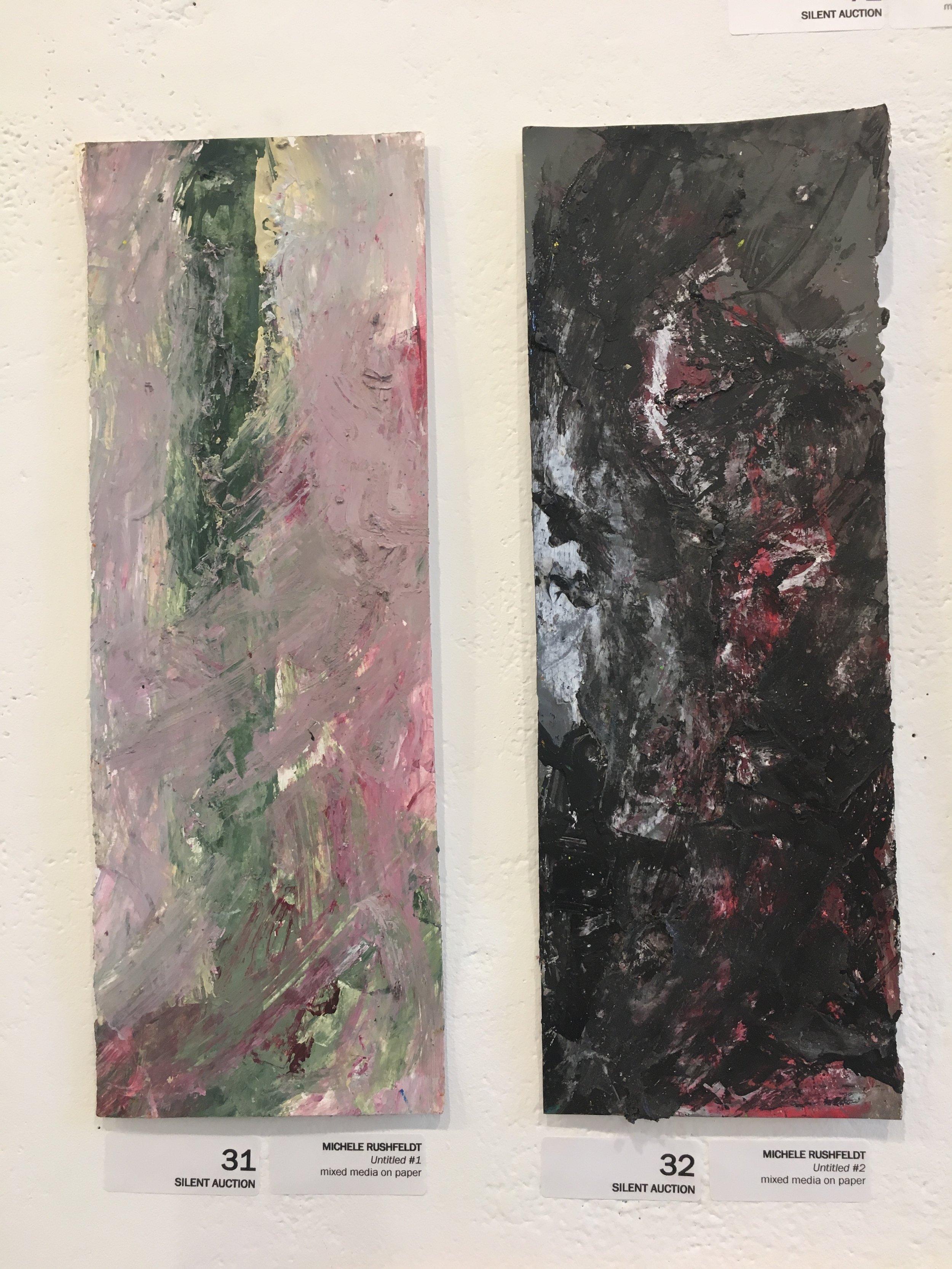 "Michele Rushfeldt, ""Untitled #1,"" (mixed media on paper) ""Untitled #2"" (mixed media on paper)"