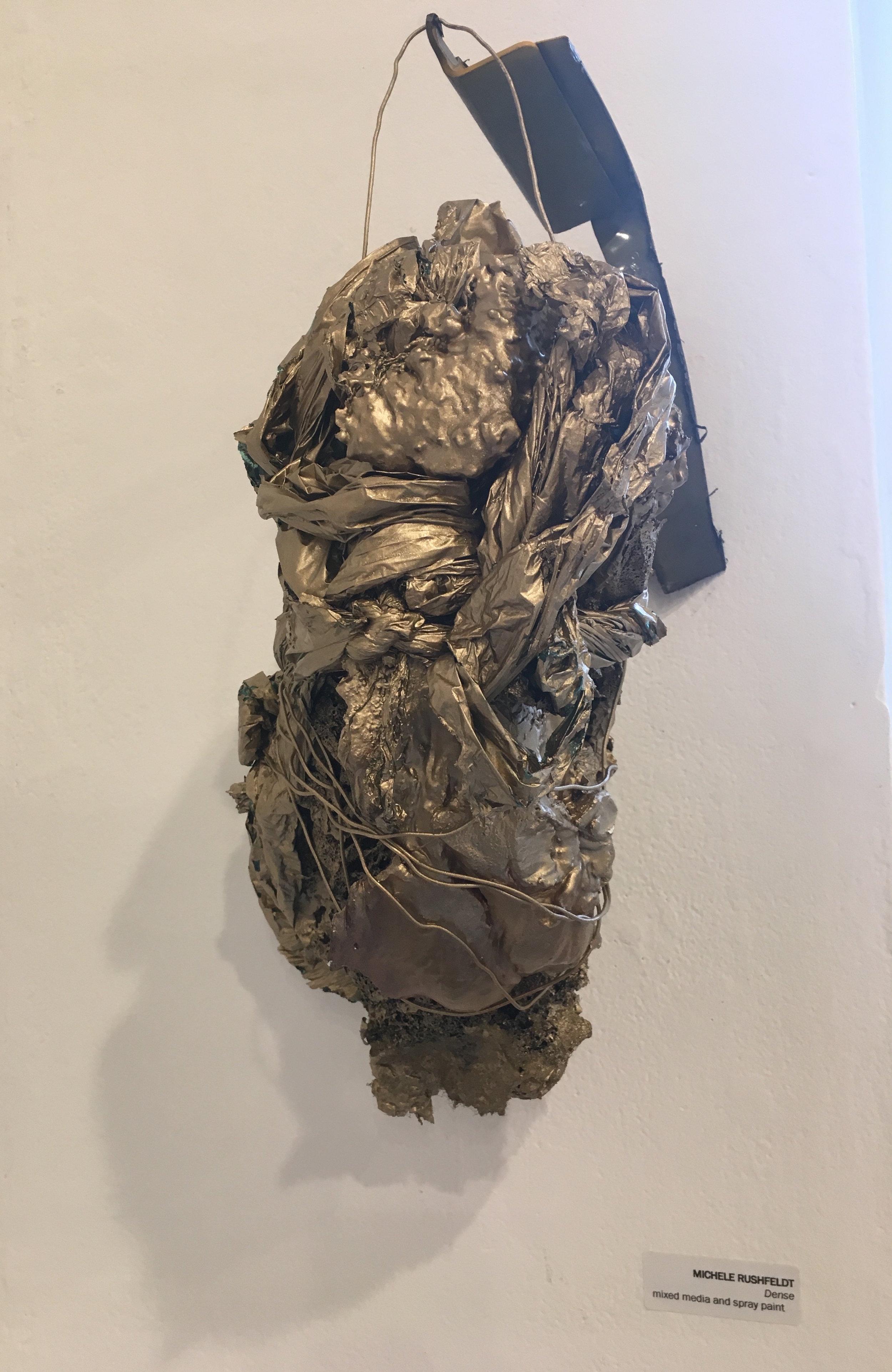 "Michele Rushfeldt, ""Dense"" (mixed media and spray paint)"