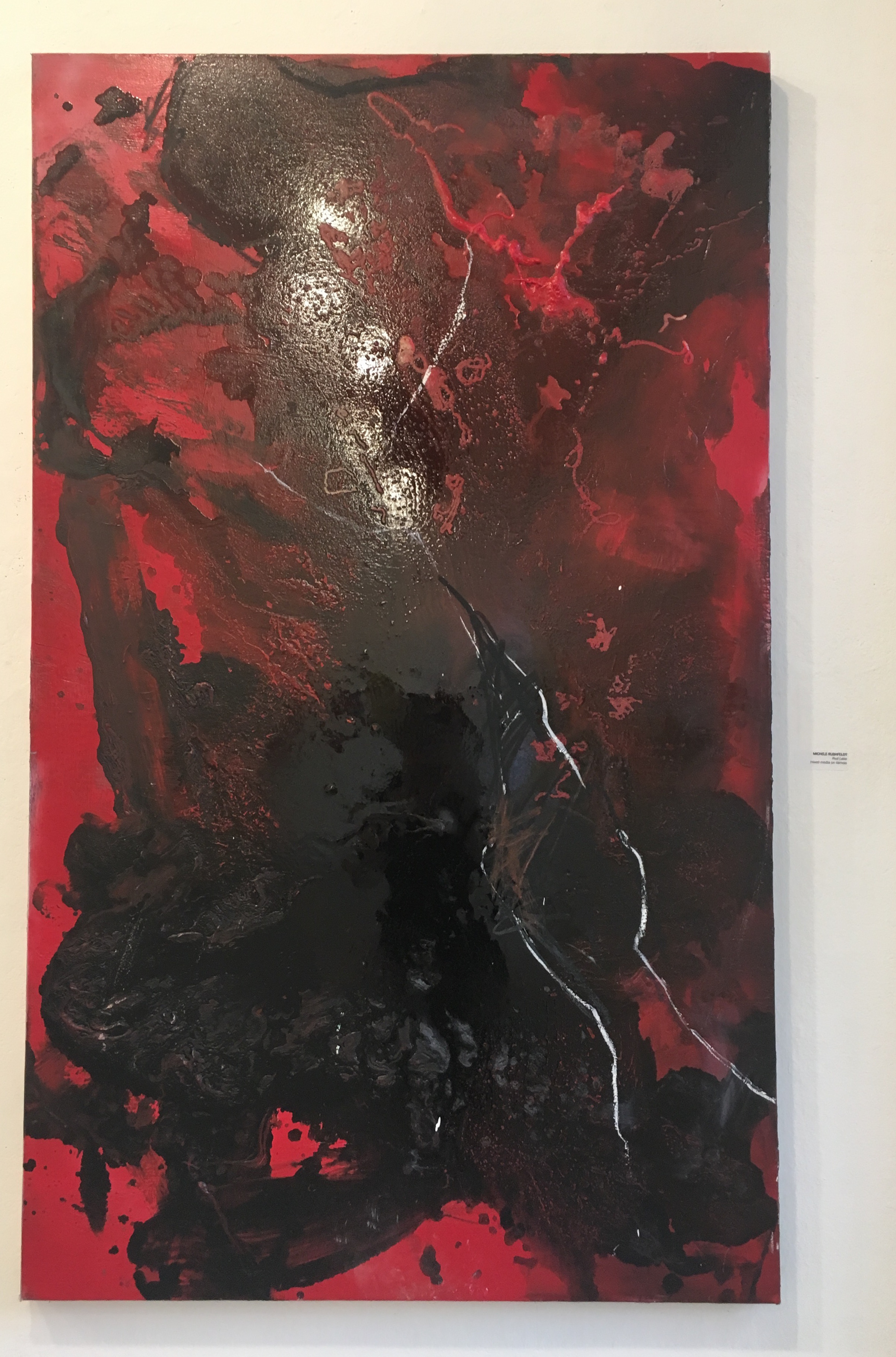 "Michele Rushfeldt, ""Red Lake"" (mixed media on canvas)"