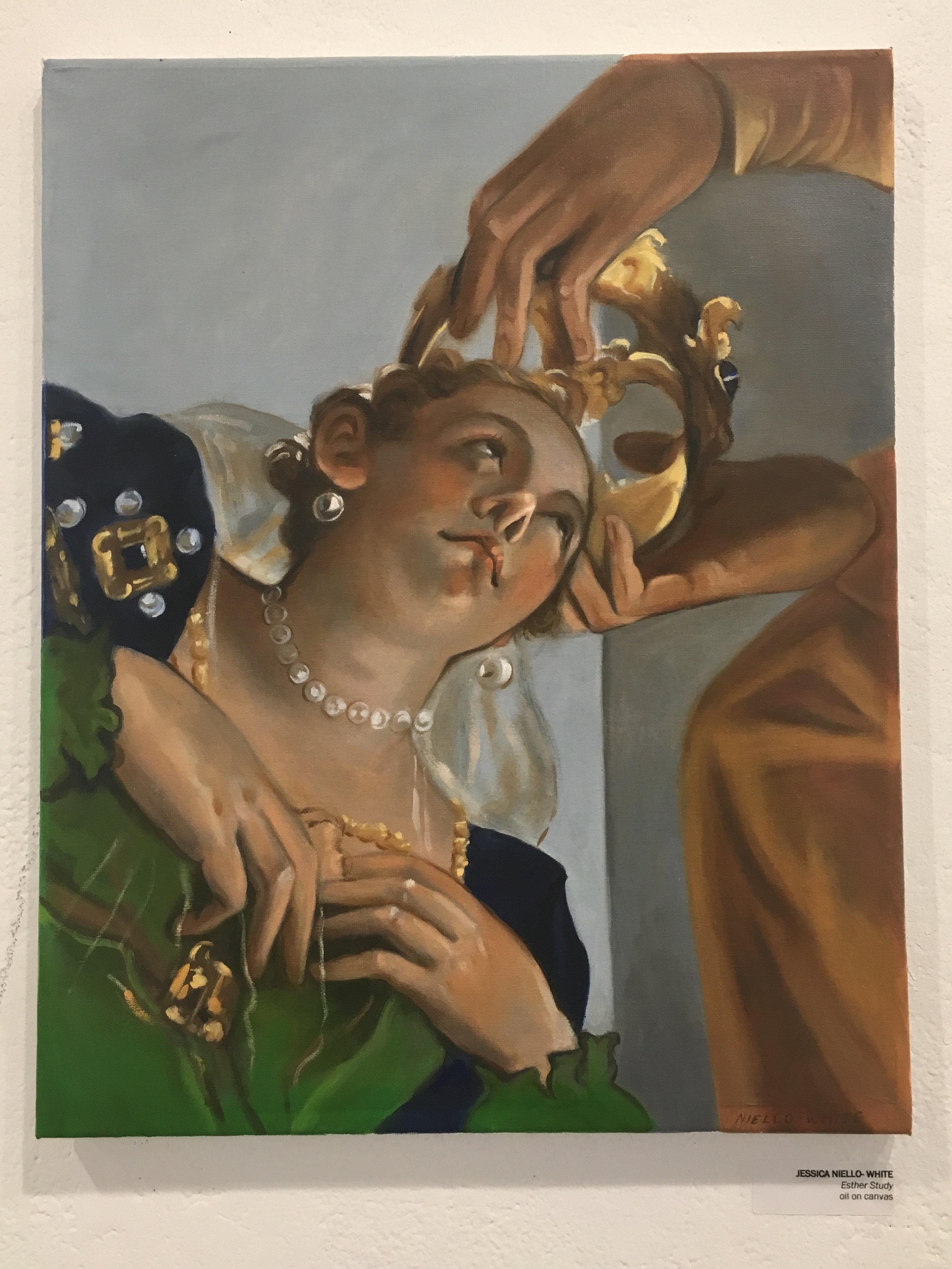 """Jessica Niello- White, """"Esther Study"""" (oil on canvas)"""