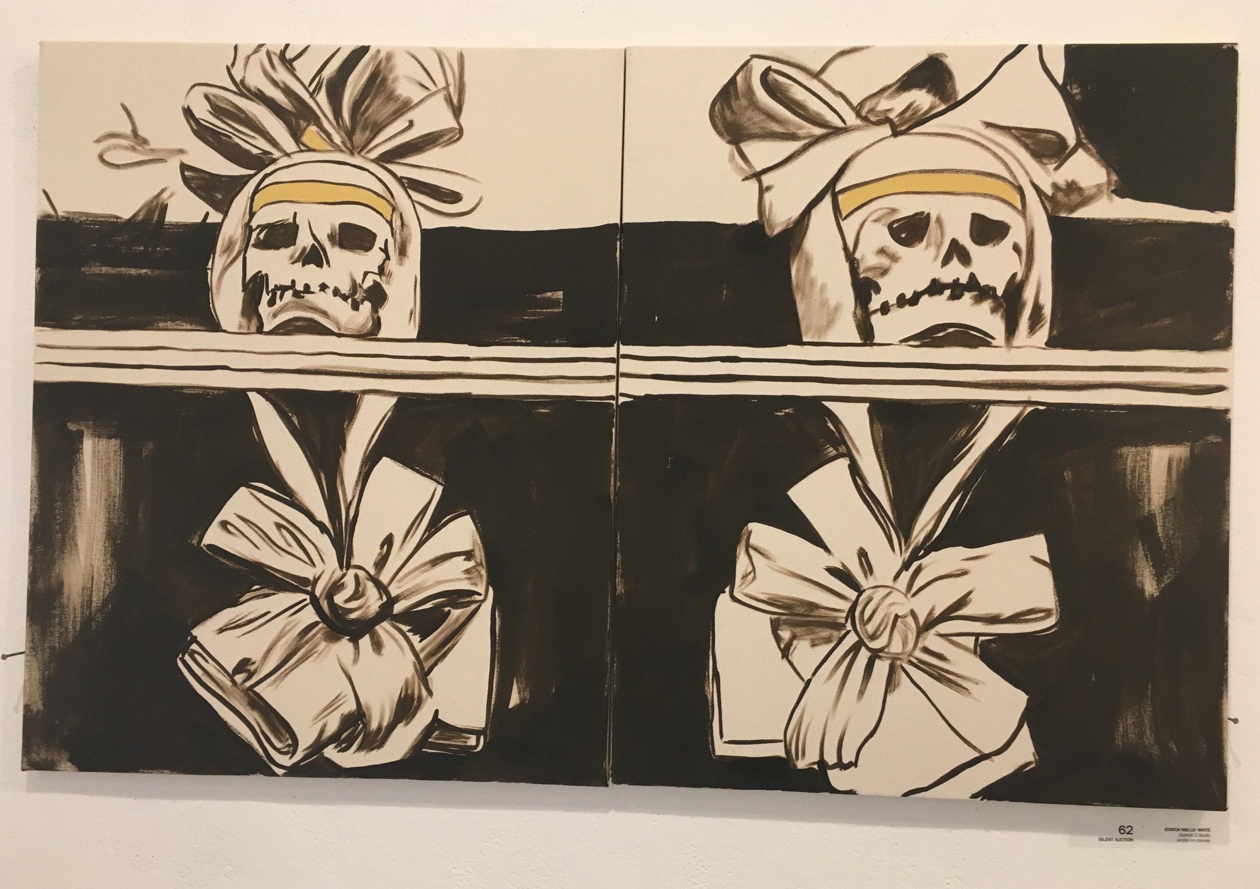 "Jessica Niello- White, ""Diptych 2 Skulls"" (acrylic on canvas)"