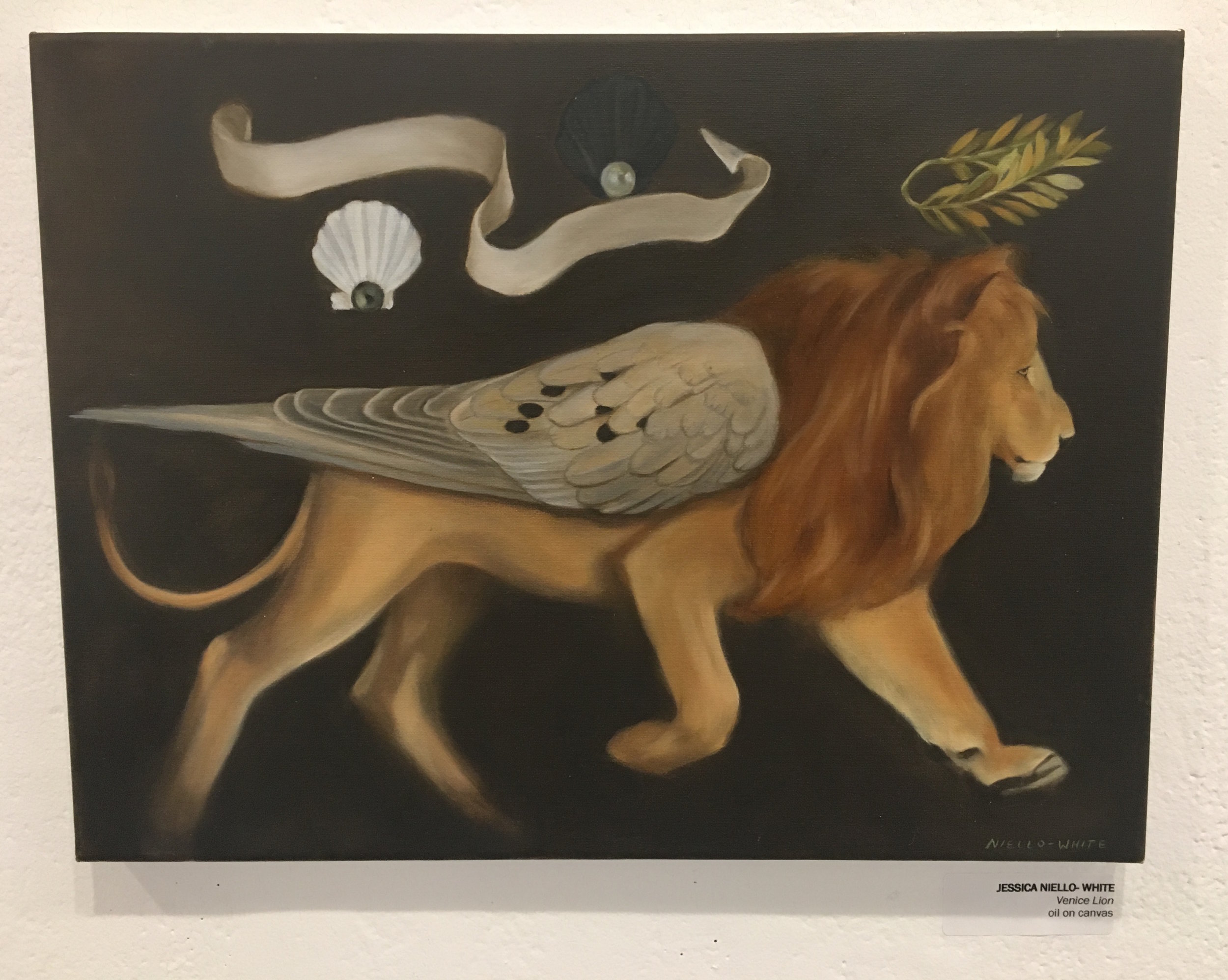 """Jessica Niello- White, """"Venice Lion"""" (oil on canvas)"""