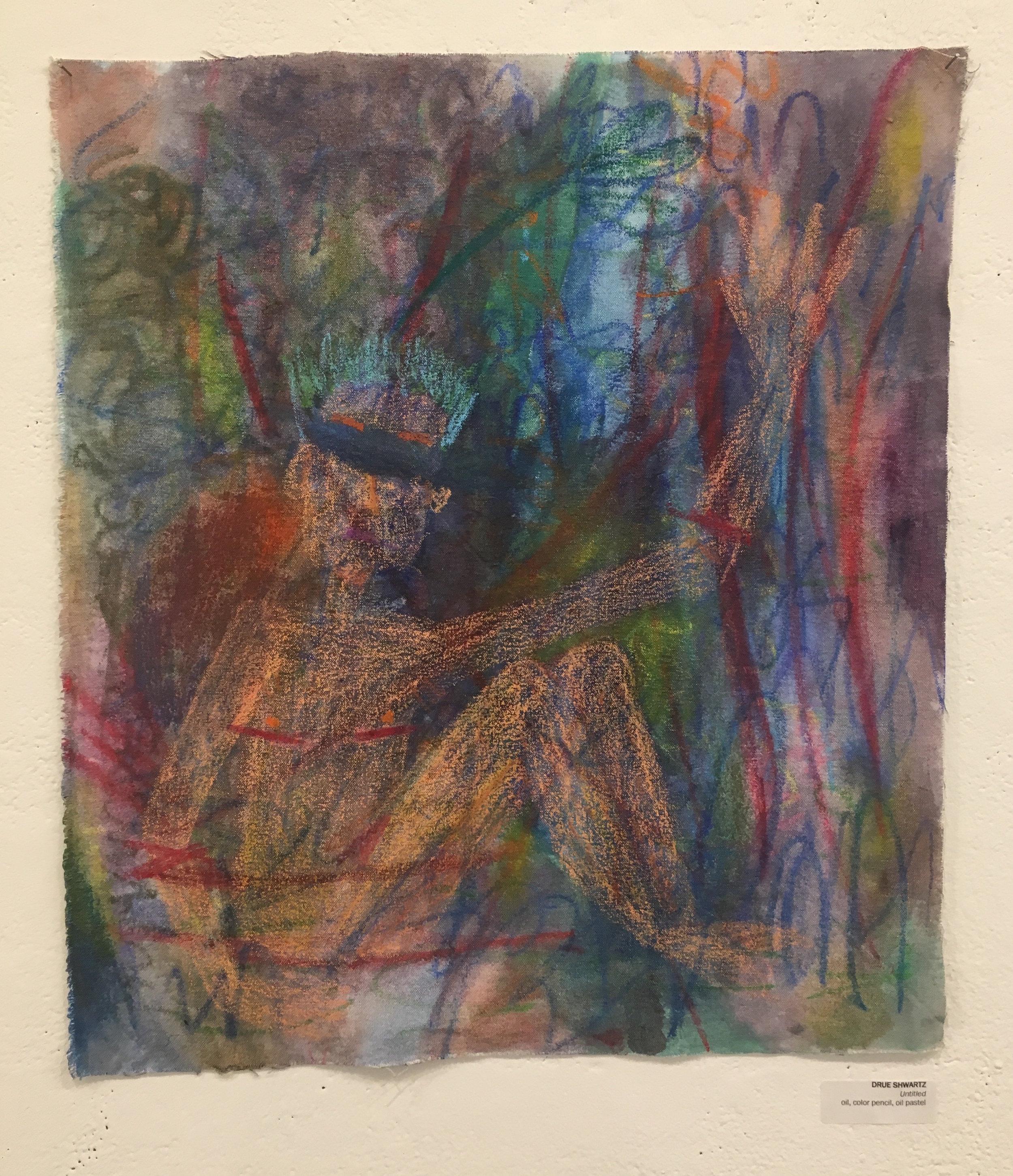 """Drue Schwartz, """"Untitled"""" (oil, color pencil, oil pastel)"""