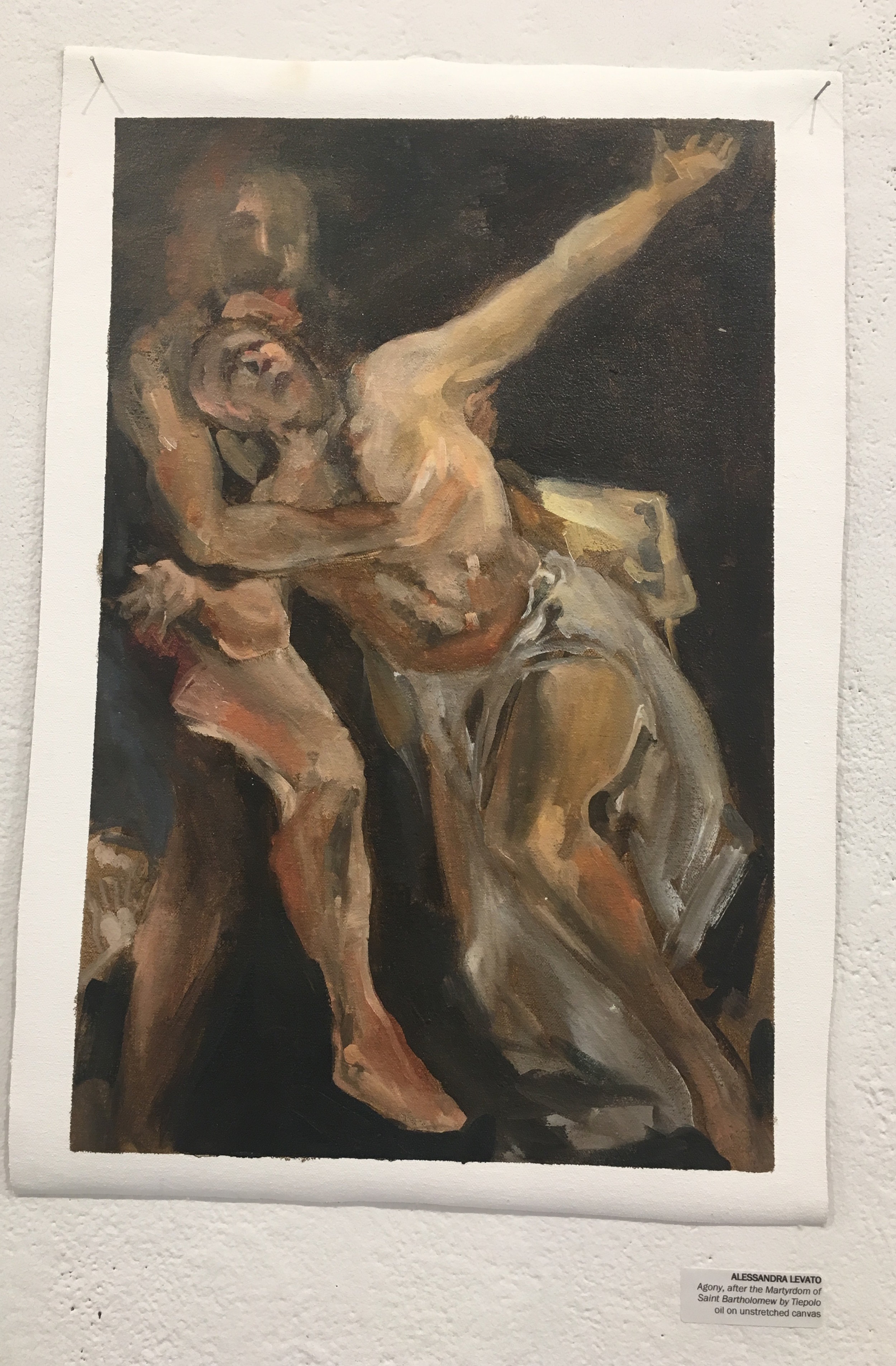 """Alessandra Levato, """"Agony, after the Martyrdom of Saint Bartholomew by Tiepolo"""" (oil on unstretched canvas)"""