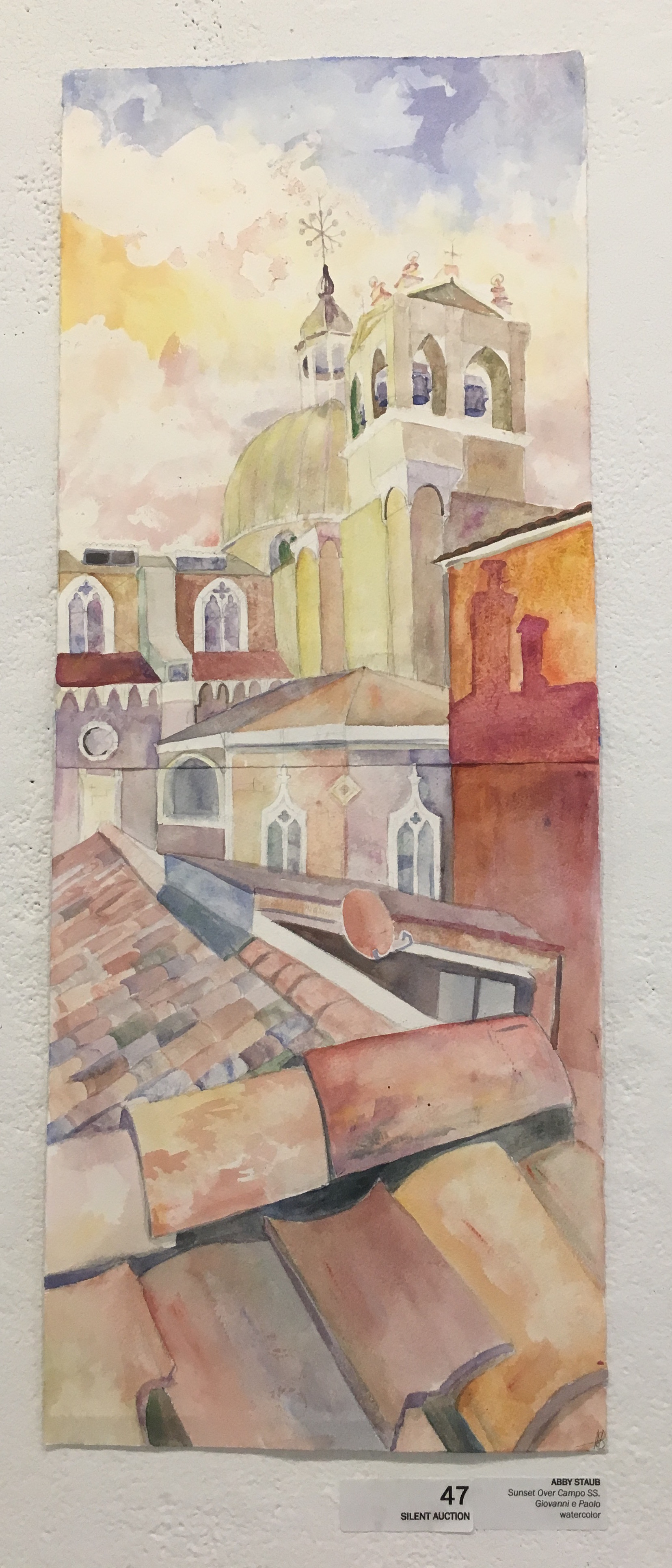 """Abby Staub, """"Sunset Over Campo SS. Giovanni e Paolo"""" (watercolor)"""