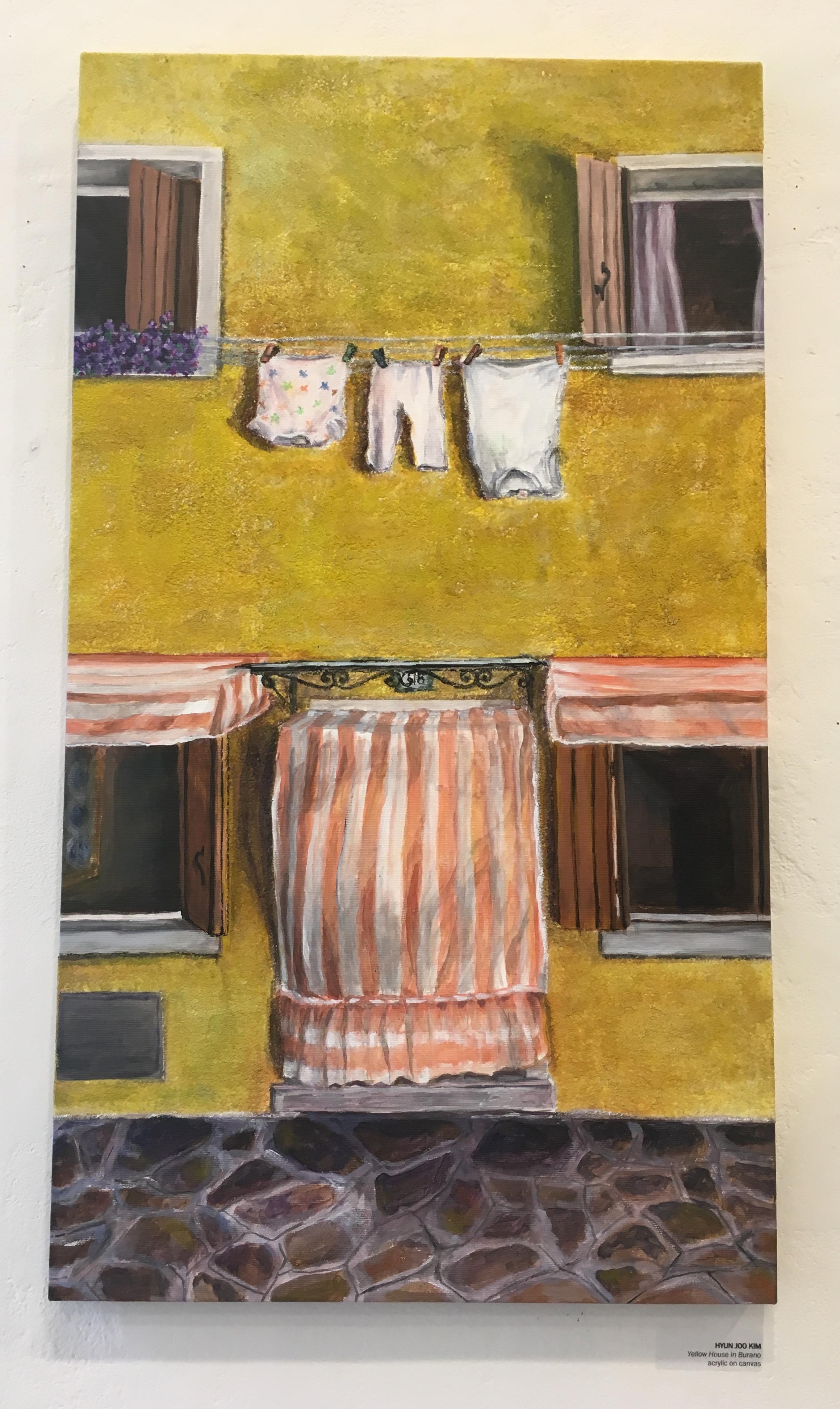"Hyun Joo Kim, ""Yellow House in Burano"" (acrylic on canvas)"