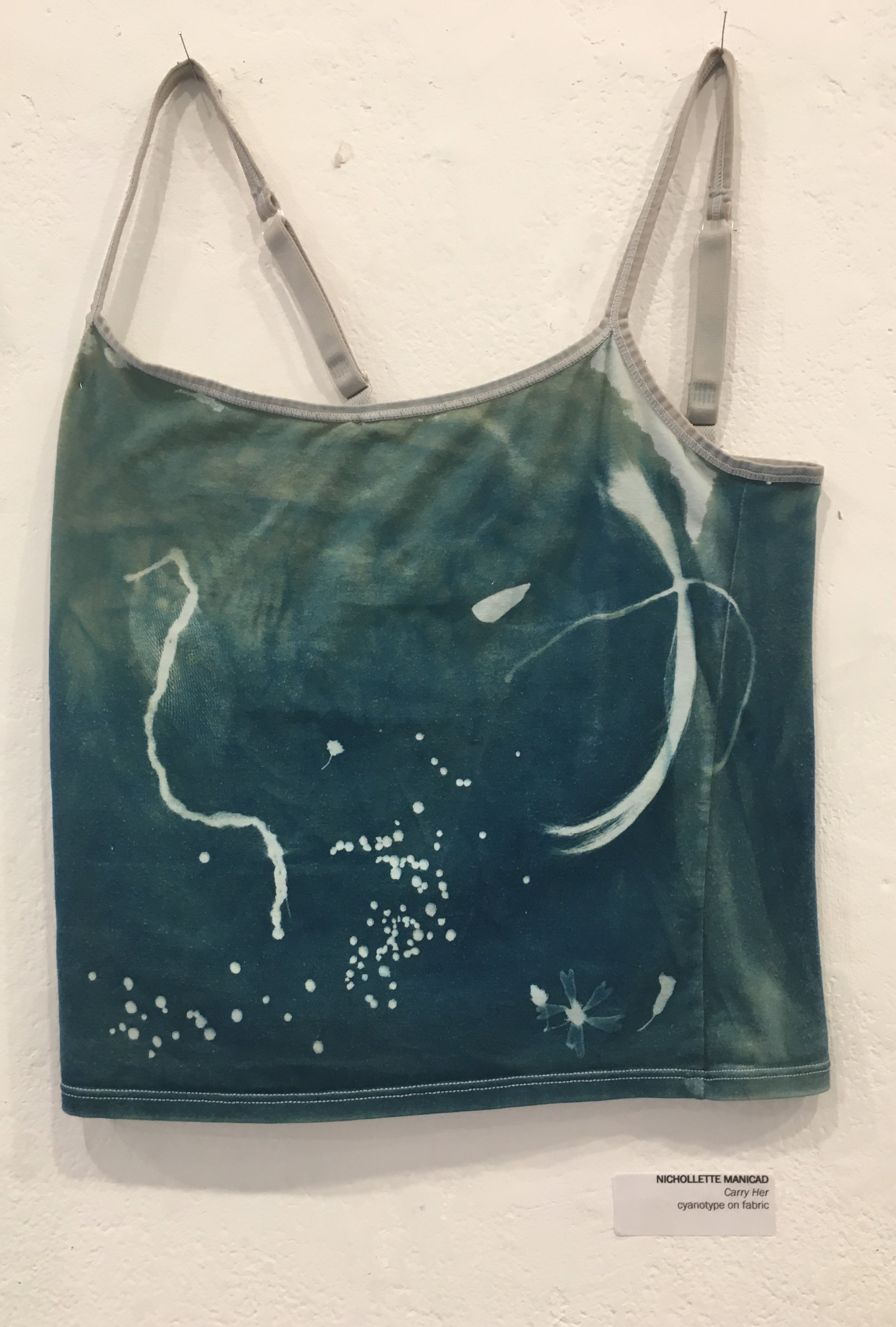 """Nichollette Manicad, """"Carry Her"""" (cyanotype on fabric)"""