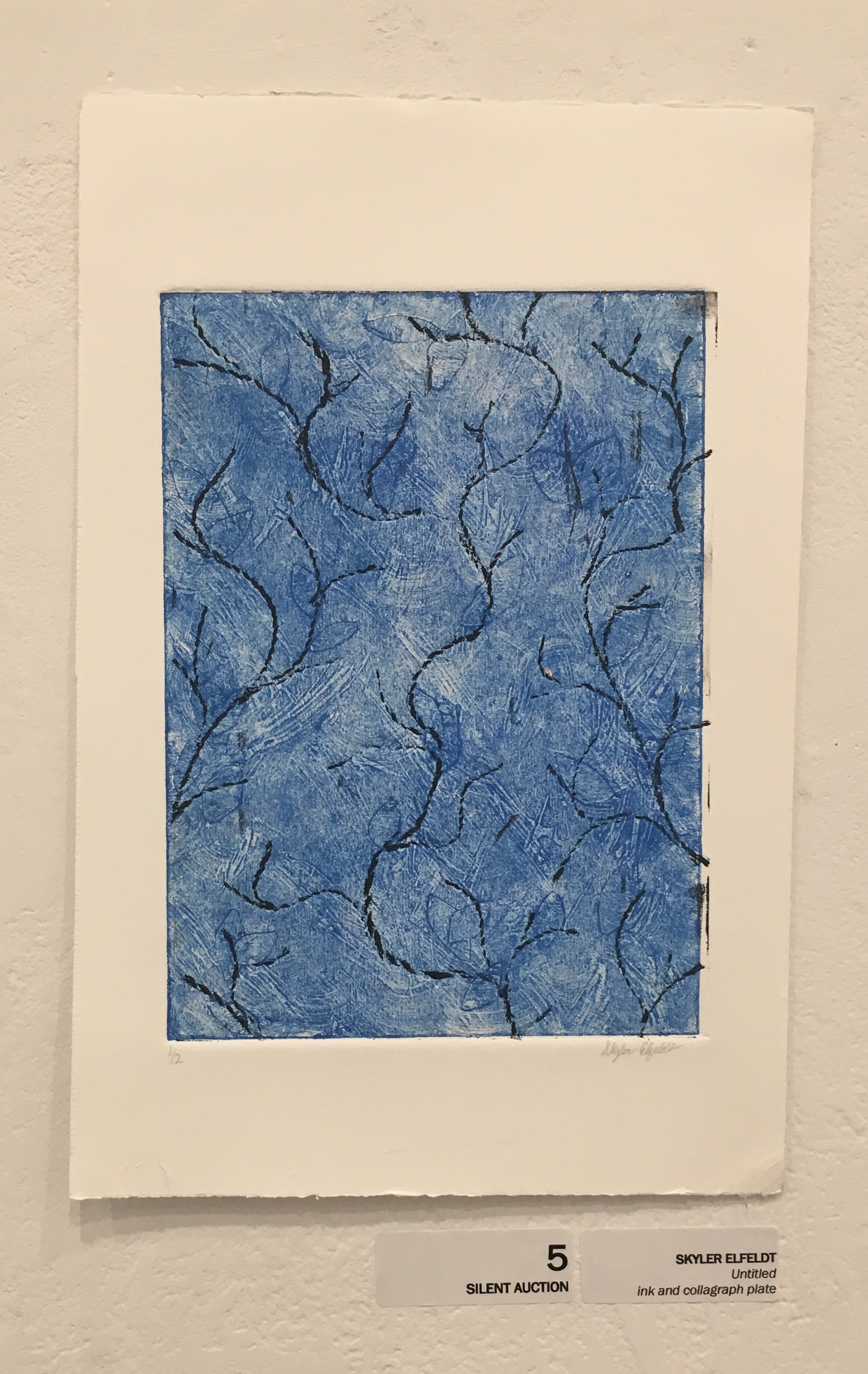 """Skyler Elfeldt, """"Untitled"""" (ink and collograph plate)"""