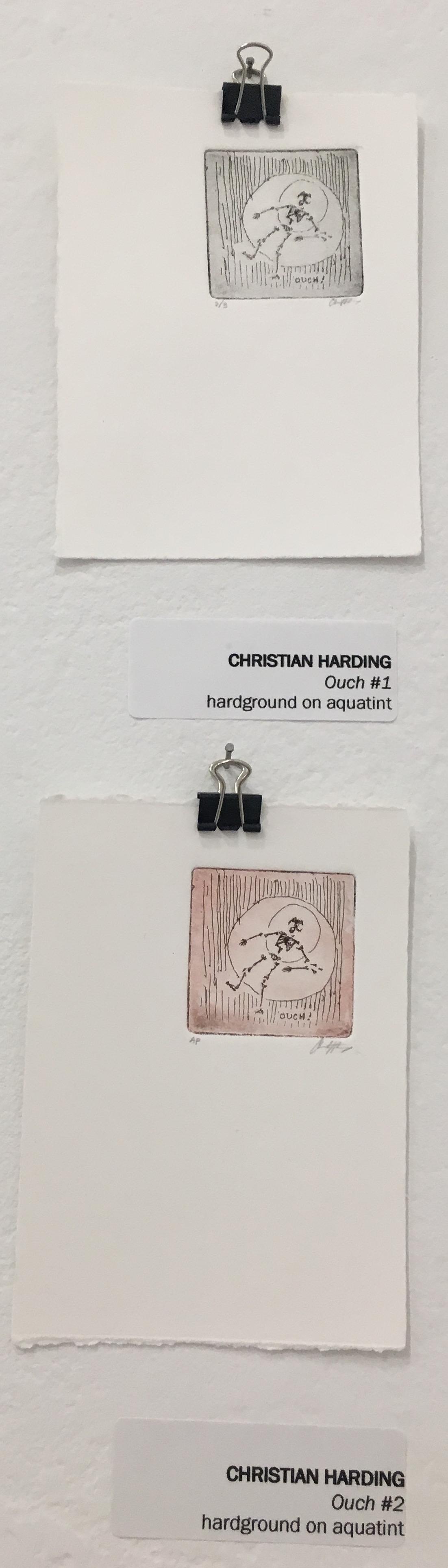 "Christian Harding, ""Ouch #1,"" (hardground on aquatint) ""Ouch #2"" (hardground on aquatint)"