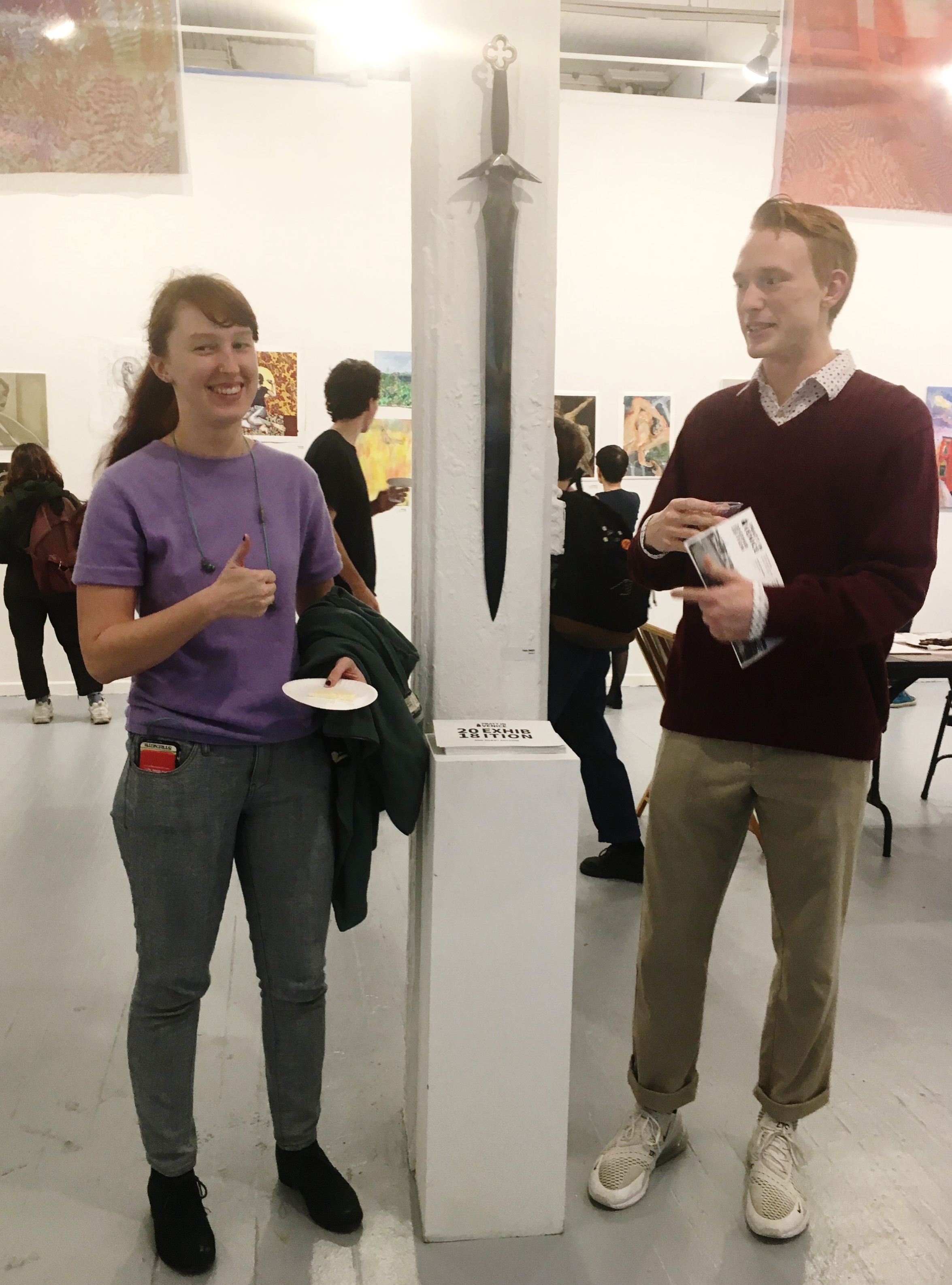 Thea Zweir (Undergraduate BFA Sculpture; PIV 2018) with her hand-forged sword and Christian Harding (BFA Digital Arts: 3D Animation; PIV 2018)