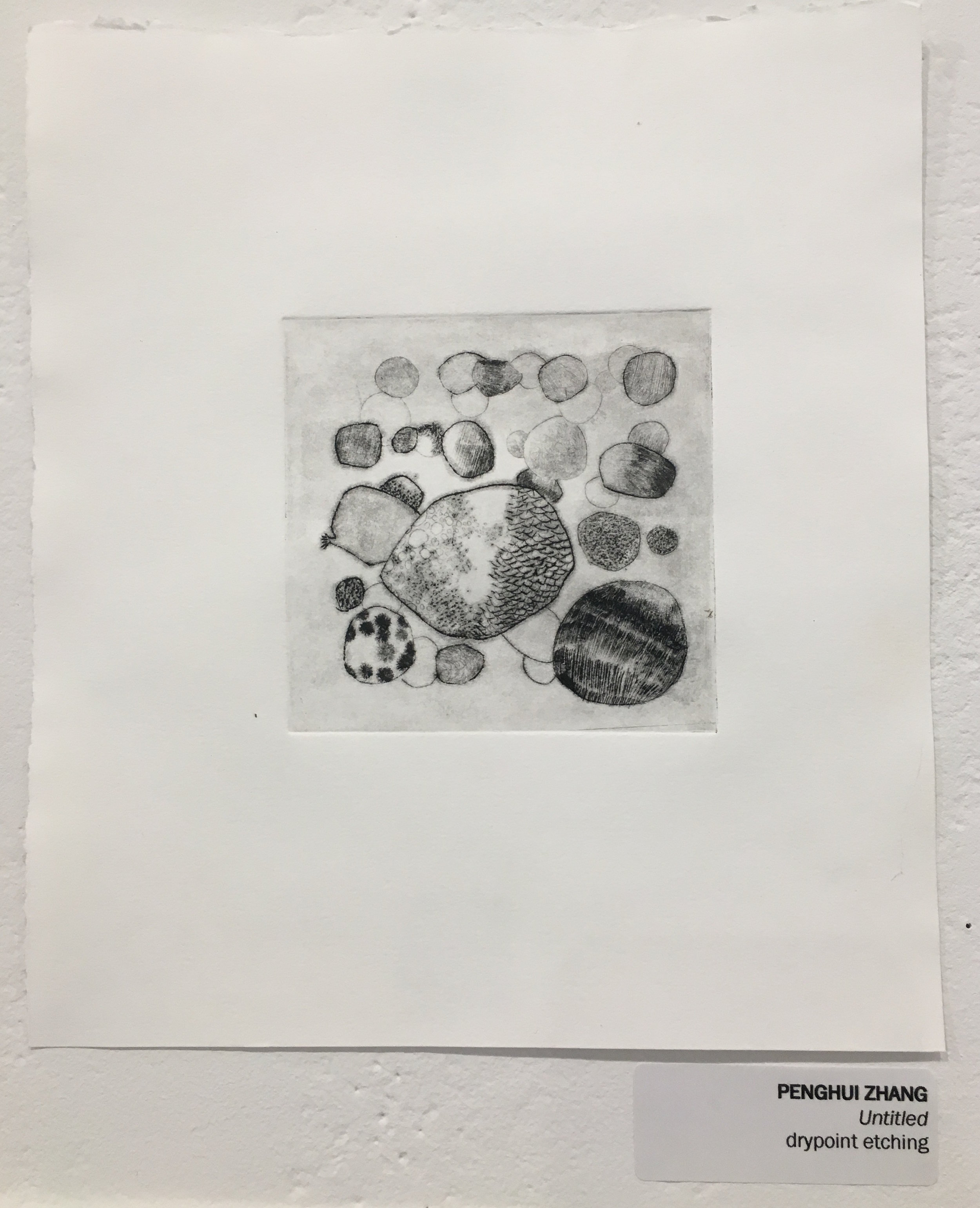 """Penghui Zhang, """"Untitled"""" (drypoint etching)"""