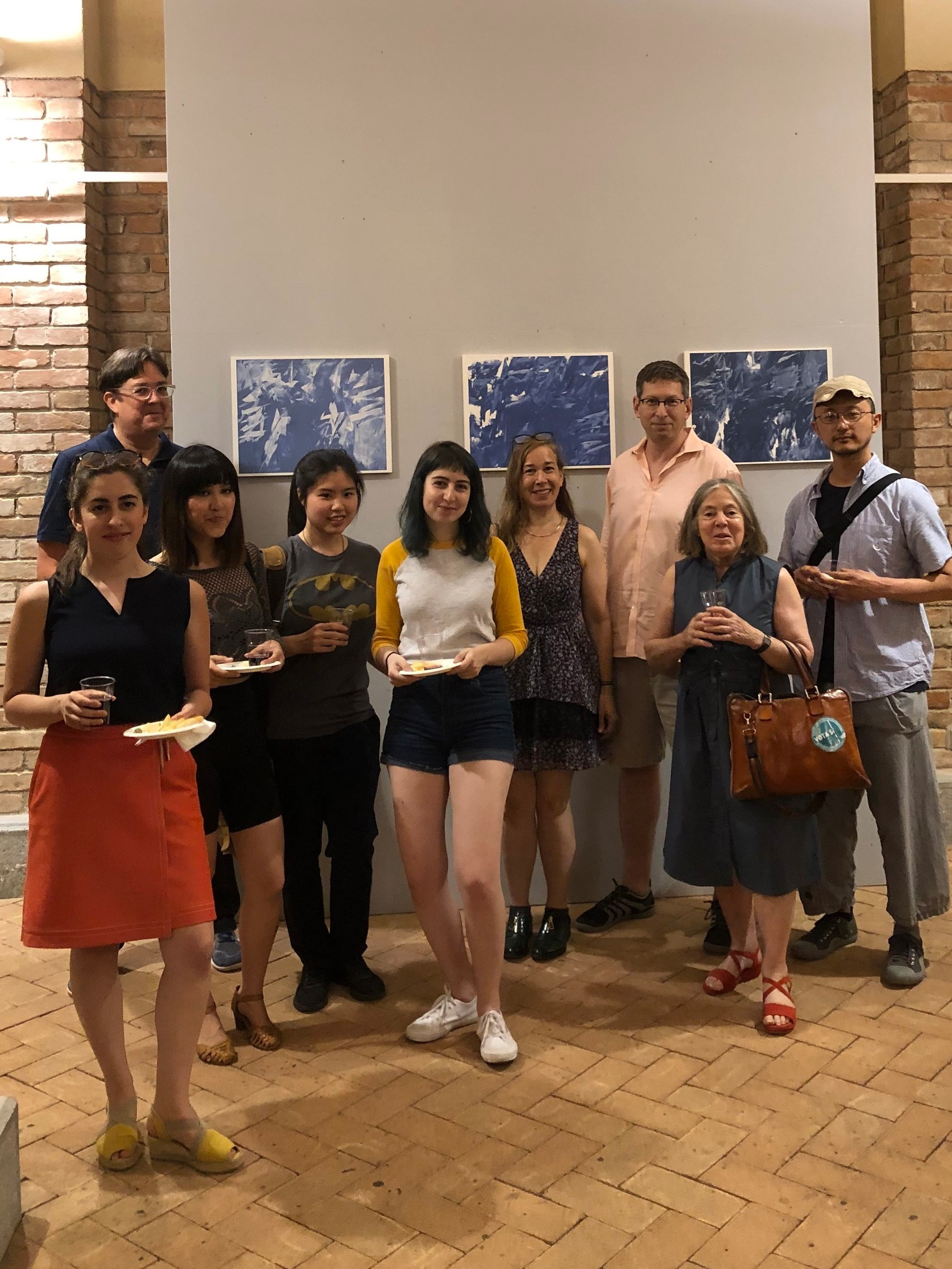 Students and alumni with exhibiting artist and painting faculty, Michael Brennan.