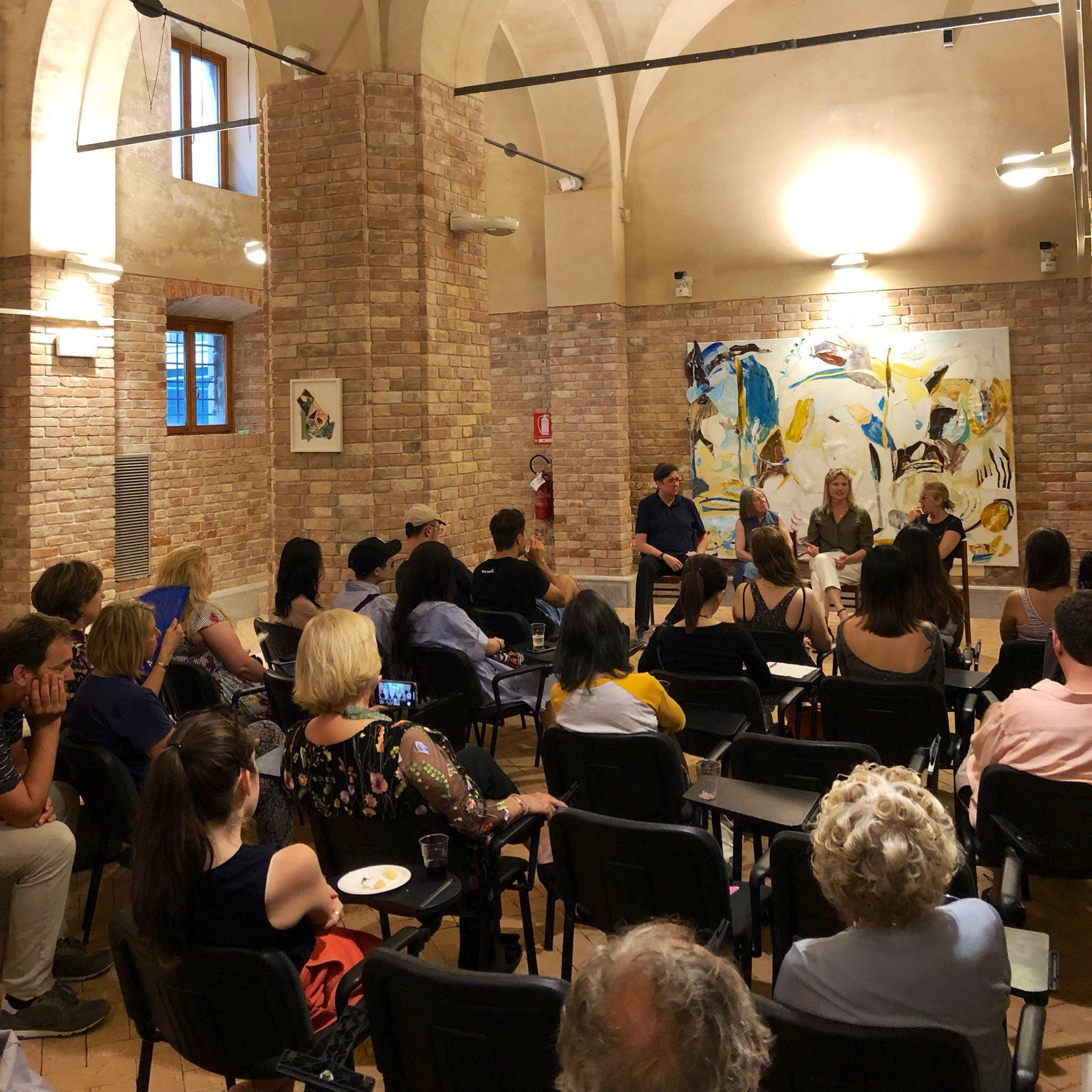 Pratt in Venice-organized panel for  Art Night 2019 , featuring exhibiting artists Michael Brennan, Monique Rollins, curator Martina Cavallarin, and Pratt in Venice Director Diana Gisolfi.