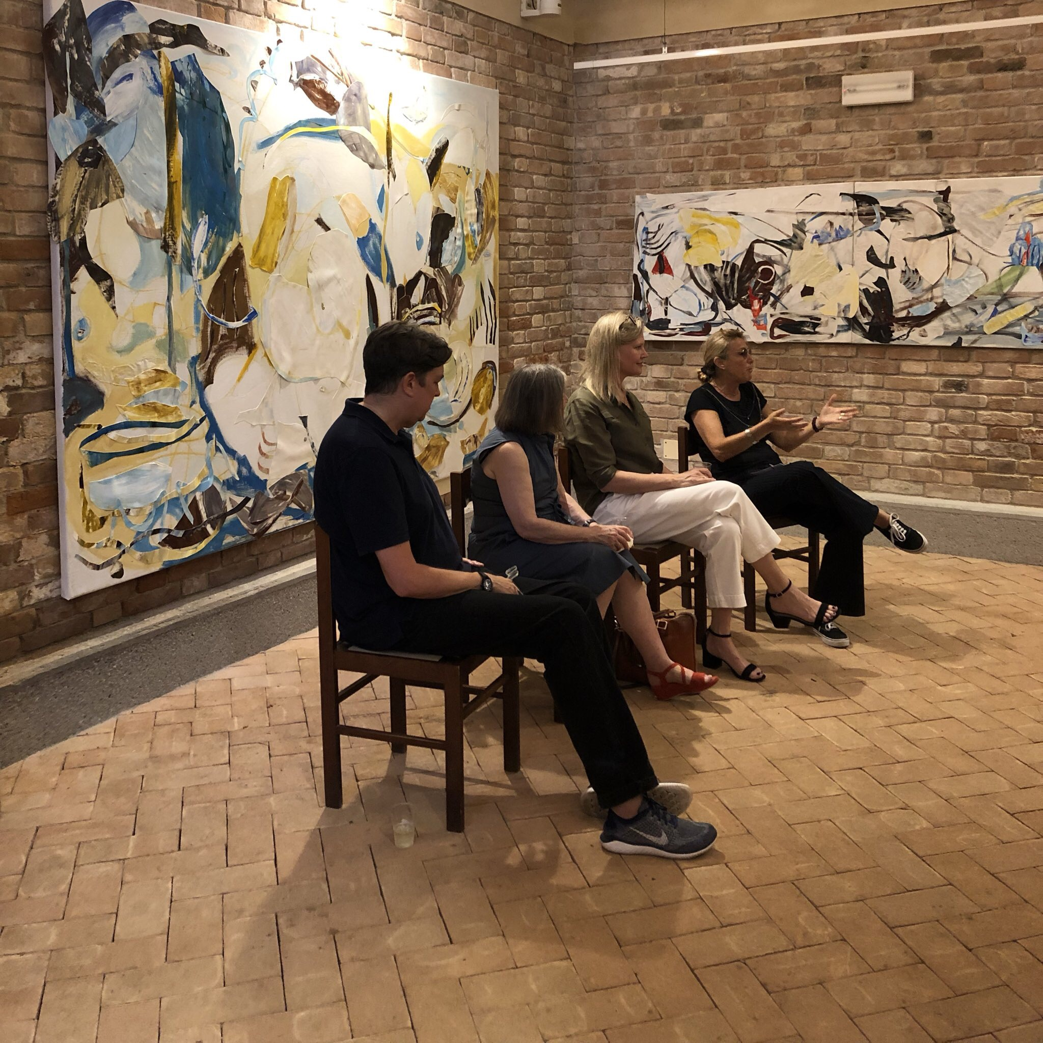 Pratt in Venice-organized panel for  Art Night 2019 , featuring exhibiting artists Michael Brennan, Monique Rollins, curator Martina Cavallarin, and Pratt in Venice Director Diana Gisolfi.