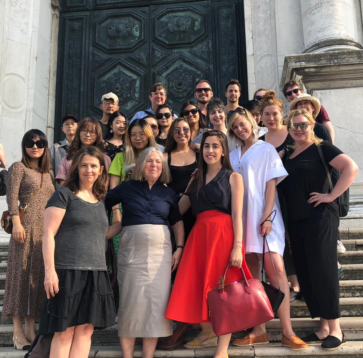 Alumna June Allen ('84) (front row, left), a student in the first year of the program, with students and faculty of the 2019 class at Santa Maria della Salute.
