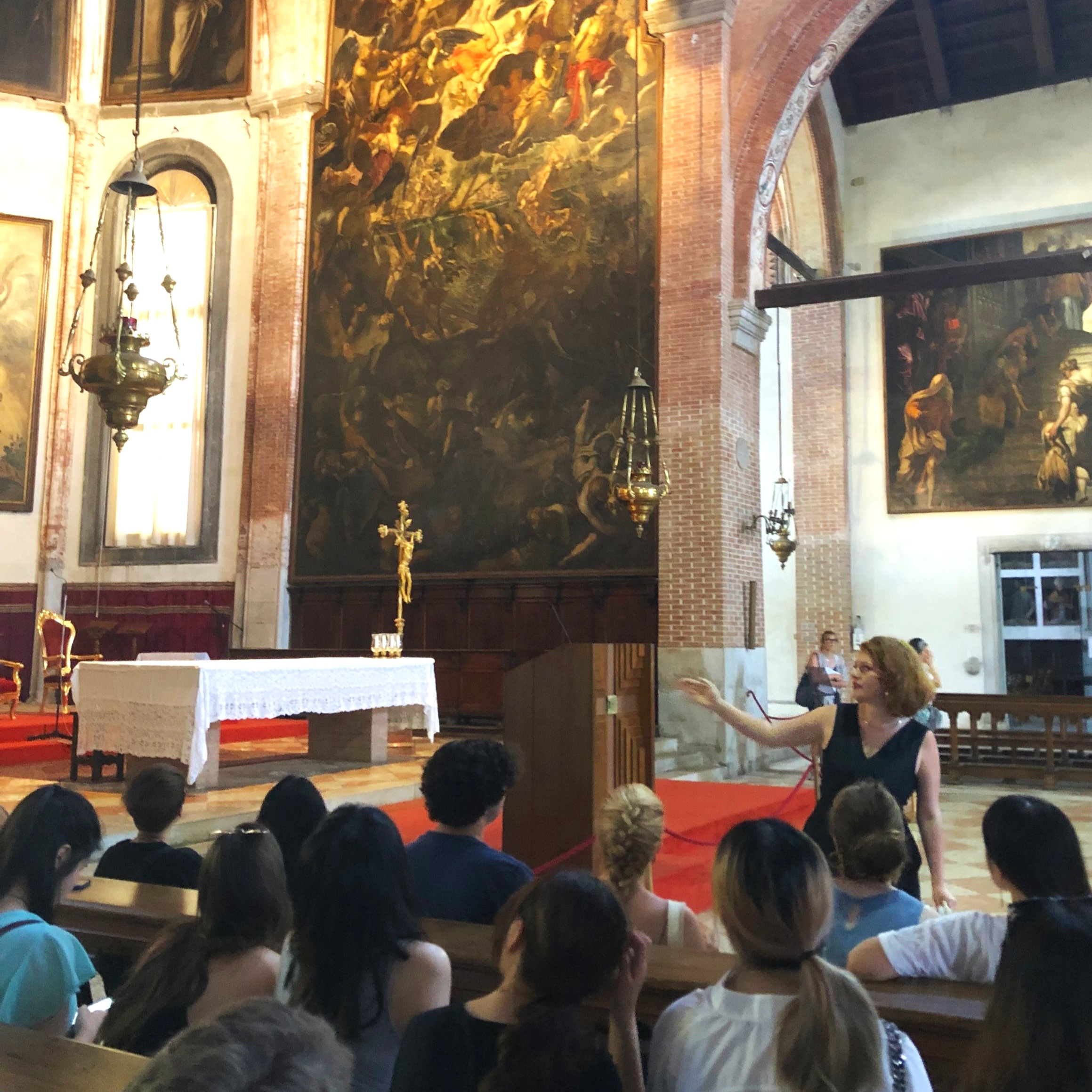 Marietta Burdick lecturing in front of Jacopo Tintoretto's  Last Judgment  (1560-62) at Madonna dell'Orto.