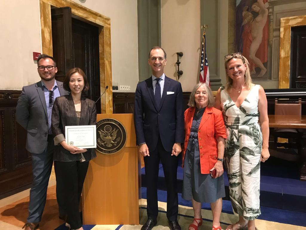 Pratt in Venice alumna Hye won Hahn ('06) was honored at the US Embassy in Rome on the occasion of her exhibition of painting. Left to right: Joseph Kopta ('07, Program Assistant '12–'14, art history faculty '15–present); Hye won Hahn ('06); Vice Ambassador and Deputy Chief of Mission Thomas Smitham; Pratt in Venice Director Diana Gisolfi; Monique Rollins ('06, Program Assistant '07).