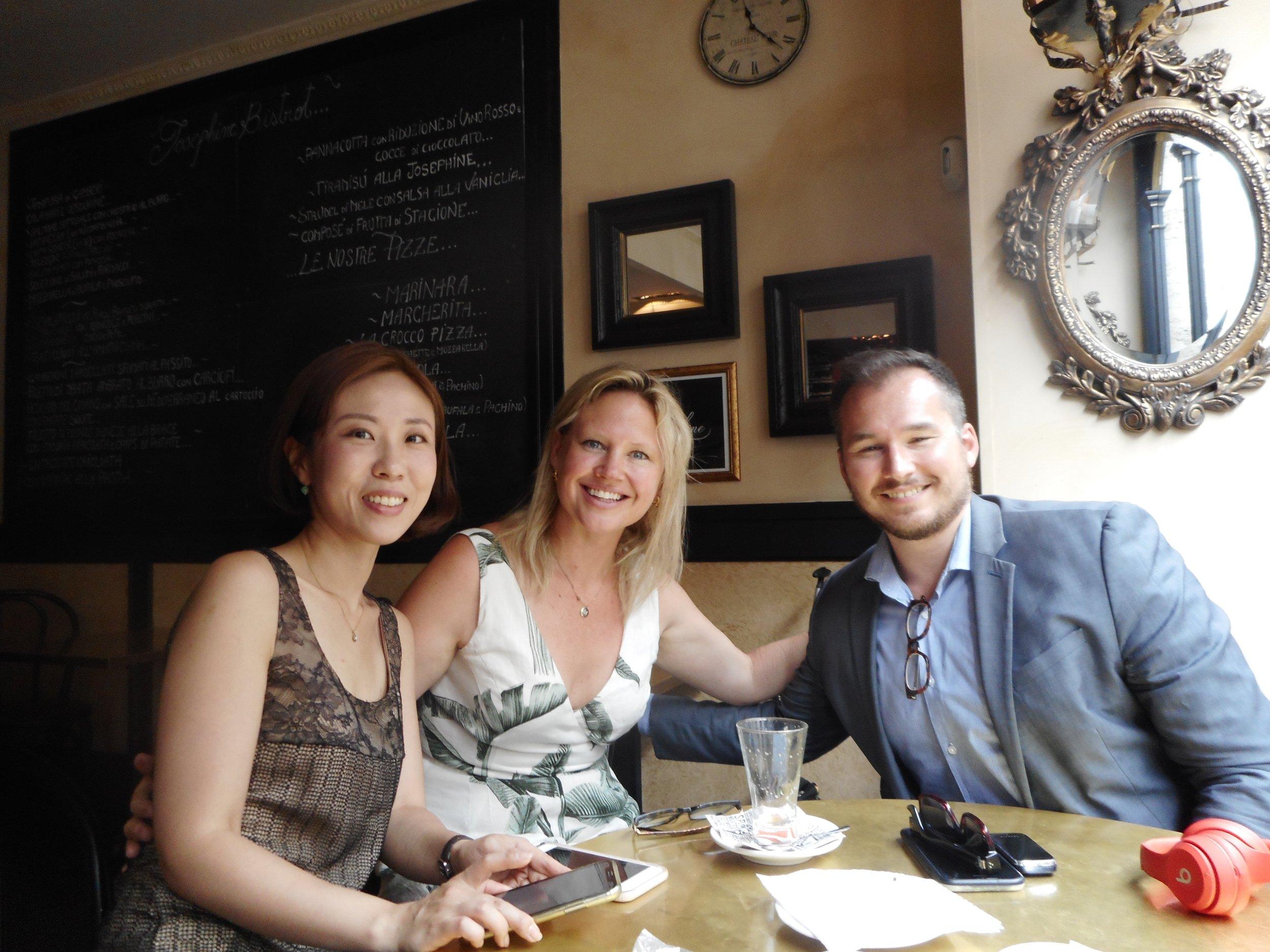 Alumni Hyewon Hahn ('06), Monique Rollins ('06) and Joseph Kopta ('07) at Hyewon's  exhibition opening  in Rome