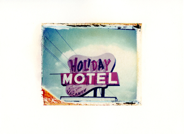 "Holiday Motel, Wisconsin Dells, Wisconsin , Polaroid Transfer on hot press watercolor paper, 7.5"" x 6"", 2012"