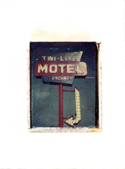 "Twi-Lite Motel front, Wisconsin Dells, Wisconsin , Polaroid Transfer on hot press watercolor paper, 6"" x 7.5"", 2012"