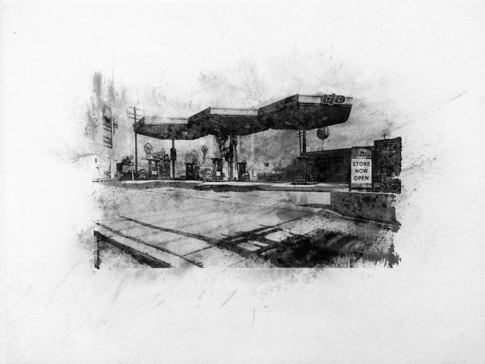 "Limited Gasoline, Grove Street, Davis , Charcoal Screen Print, 18""x24"", 2016"