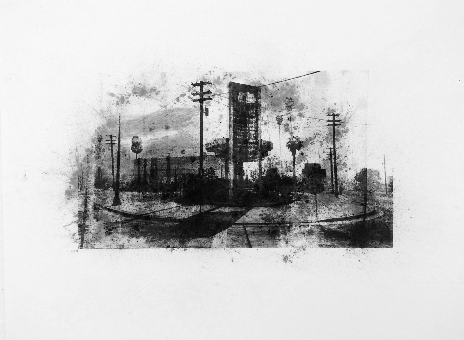 "Limited Gasoline, Davis , Charcoal Screen Print, 18""x24"", 2016"