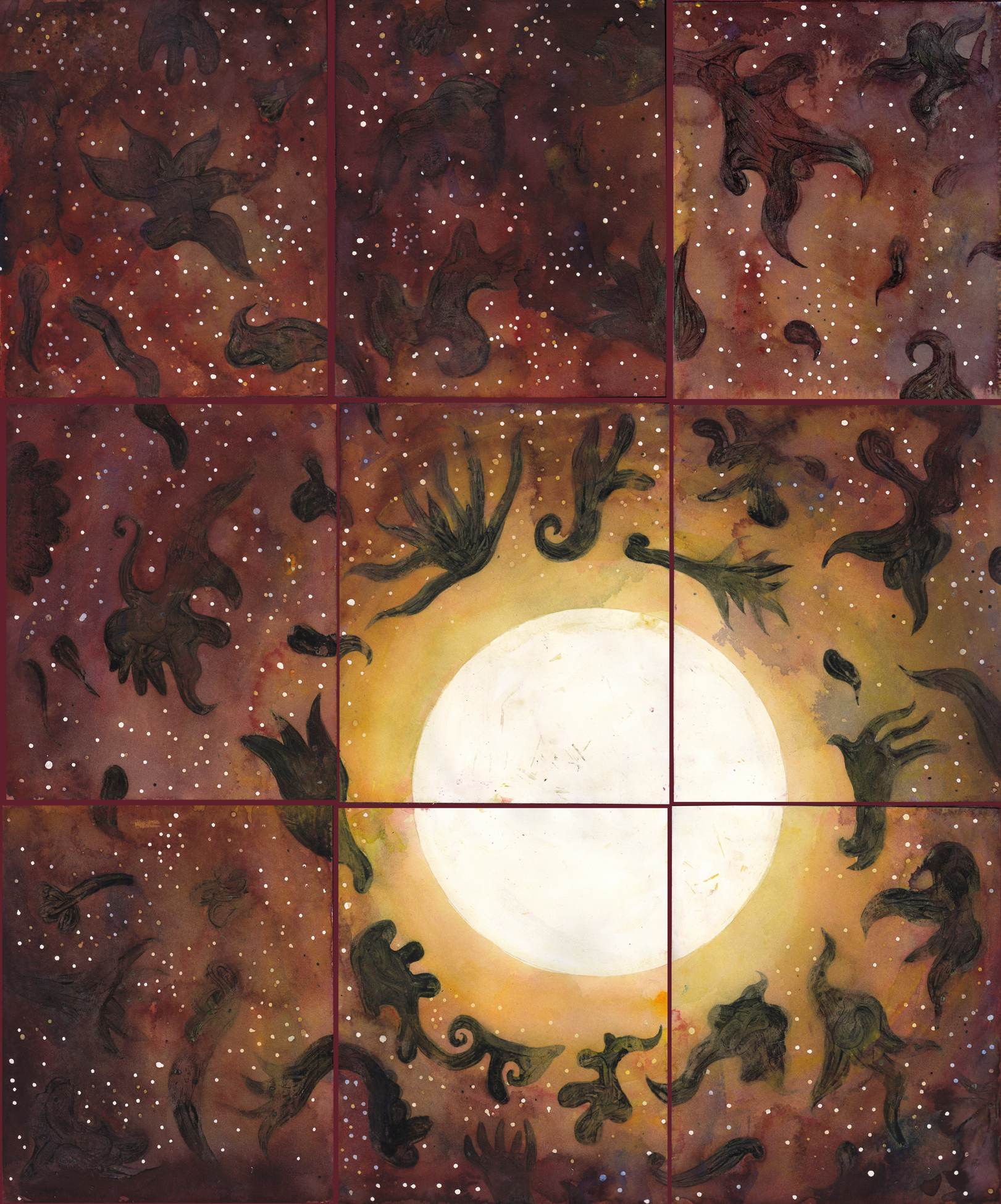 """Rinpoche's Moon   watercolor and gouache on 9 sheets of 140# Arches WC Paper with canvas strips and PVA /20""""x 24"""" (20.8cm x 60.96) /2012"""