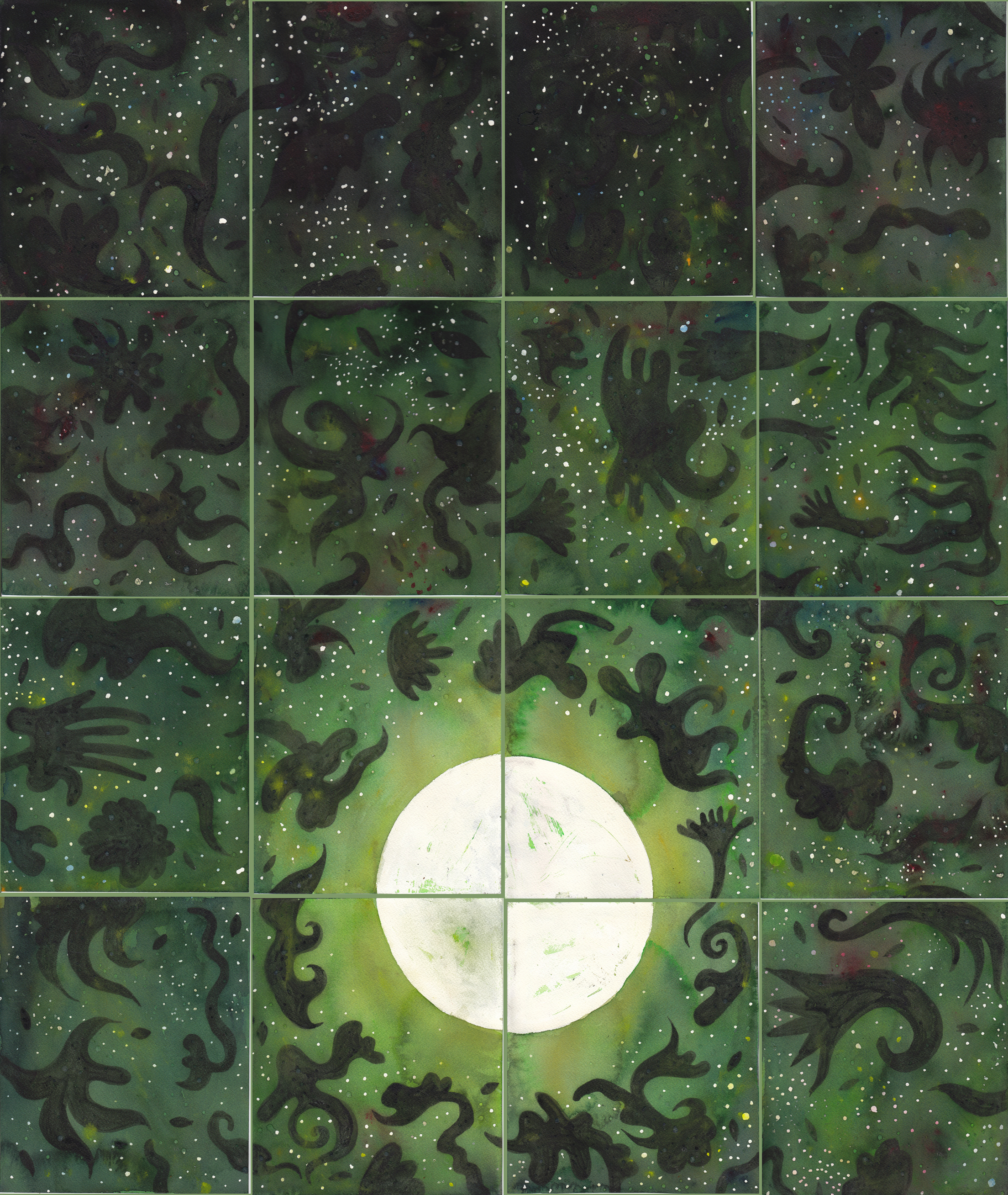 """Green Tea Moon   watercolor and gouache on 15 sheets of 140# Arches WC Paper with canvas strips and PVA /40""""x 38"""" /2012"""