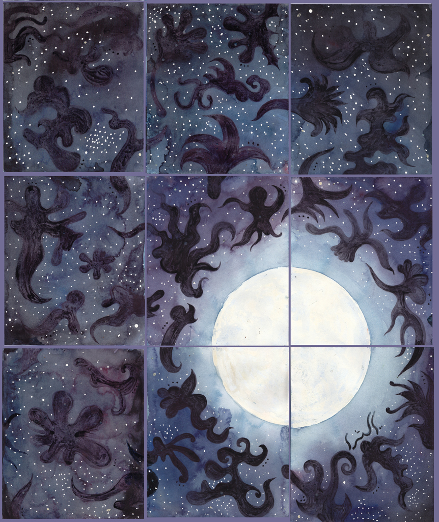 """Blue Moon   watercolor and gouache on 9 sheets of 140# Arches WC Paper with canvas strips and PVA /20""""x 24"""" (20.8cm x 60.96) /2012"""
